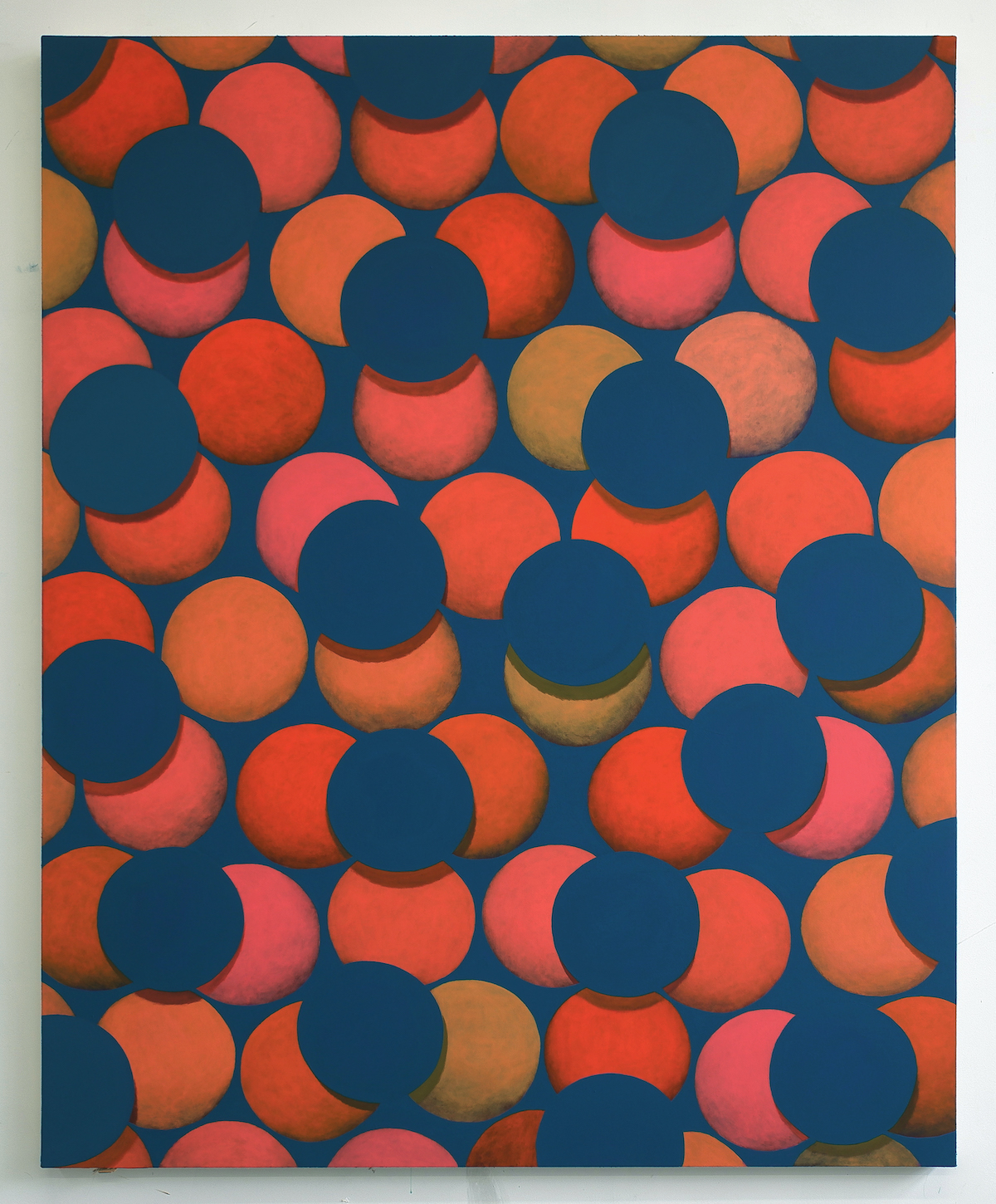 Corydon Cowansage, Dark Turquoise, Orange, Purple, acrylic and vinyl paint on canvas, 60 x 48 inches