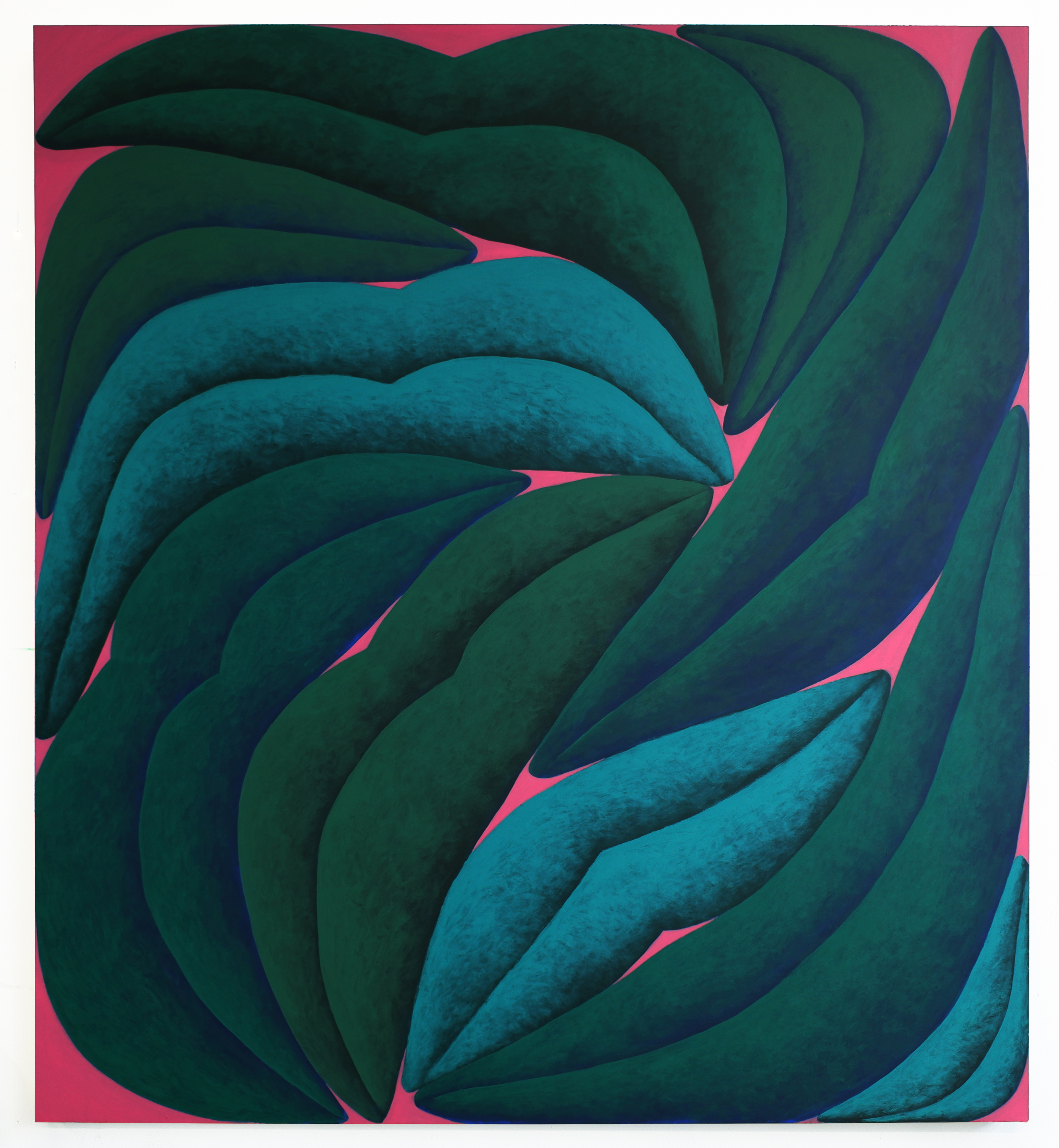 Corydon Cowansage, Green, Turquoise, Pink, 2021, acrylic on canvas, 60 x 54 inches