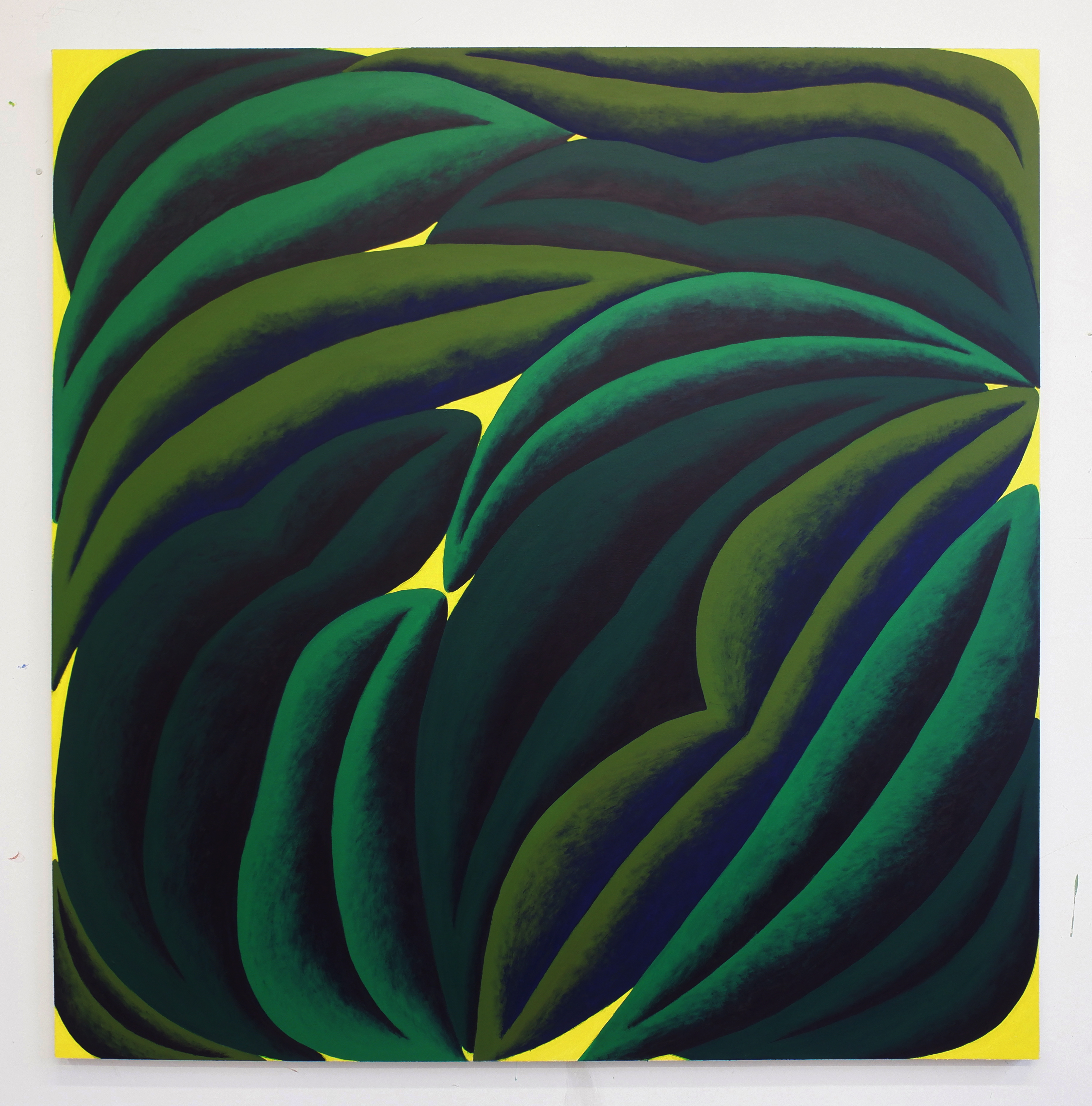 Corydon Cowansage, Green and Yellow, 2020, acrylic on canvas, 60 x 58 inches