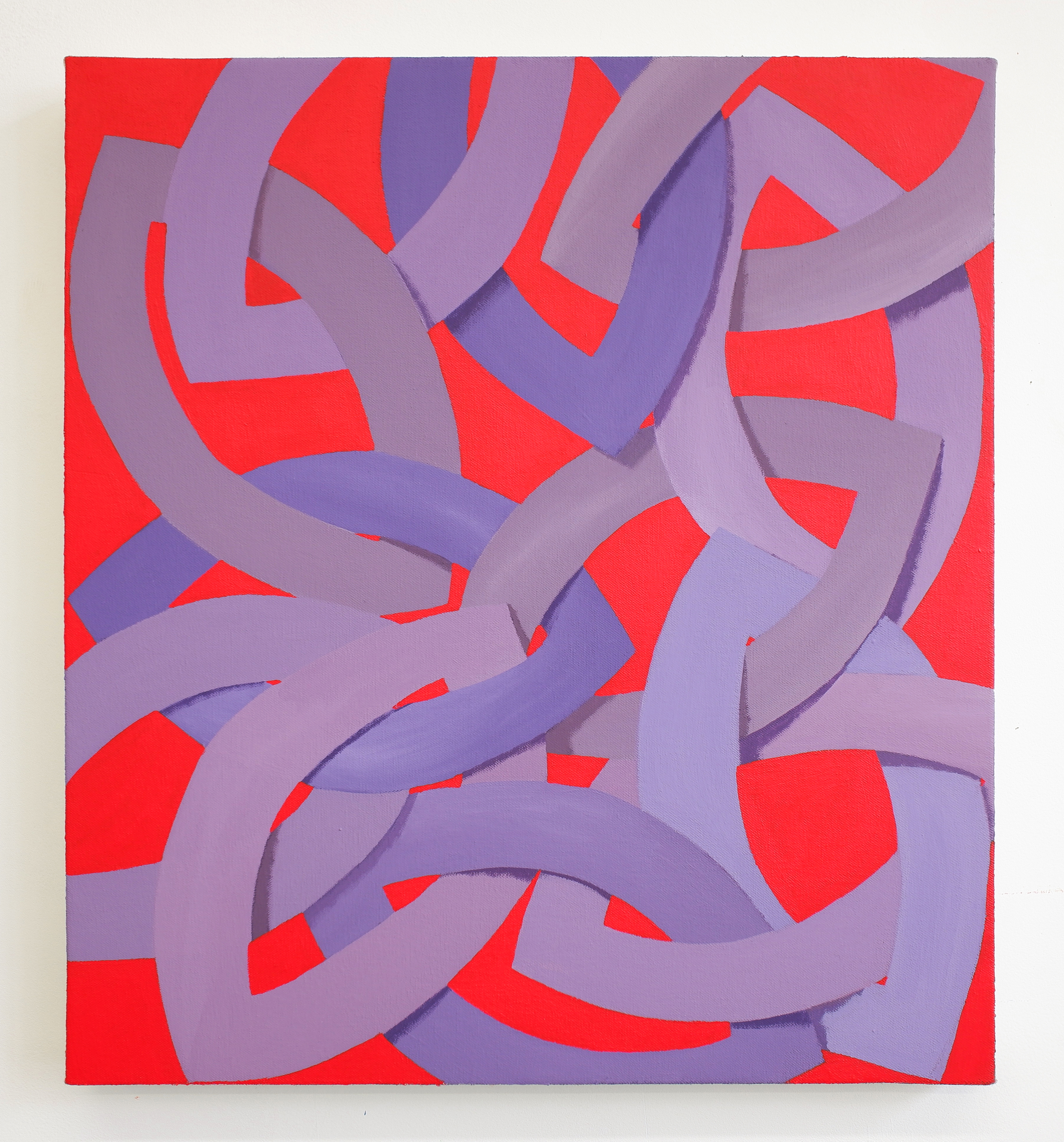Corydon Cowansage, Purple and Red, 2019, acrylic and vinyl paint on canvas, 20 x 18 inches