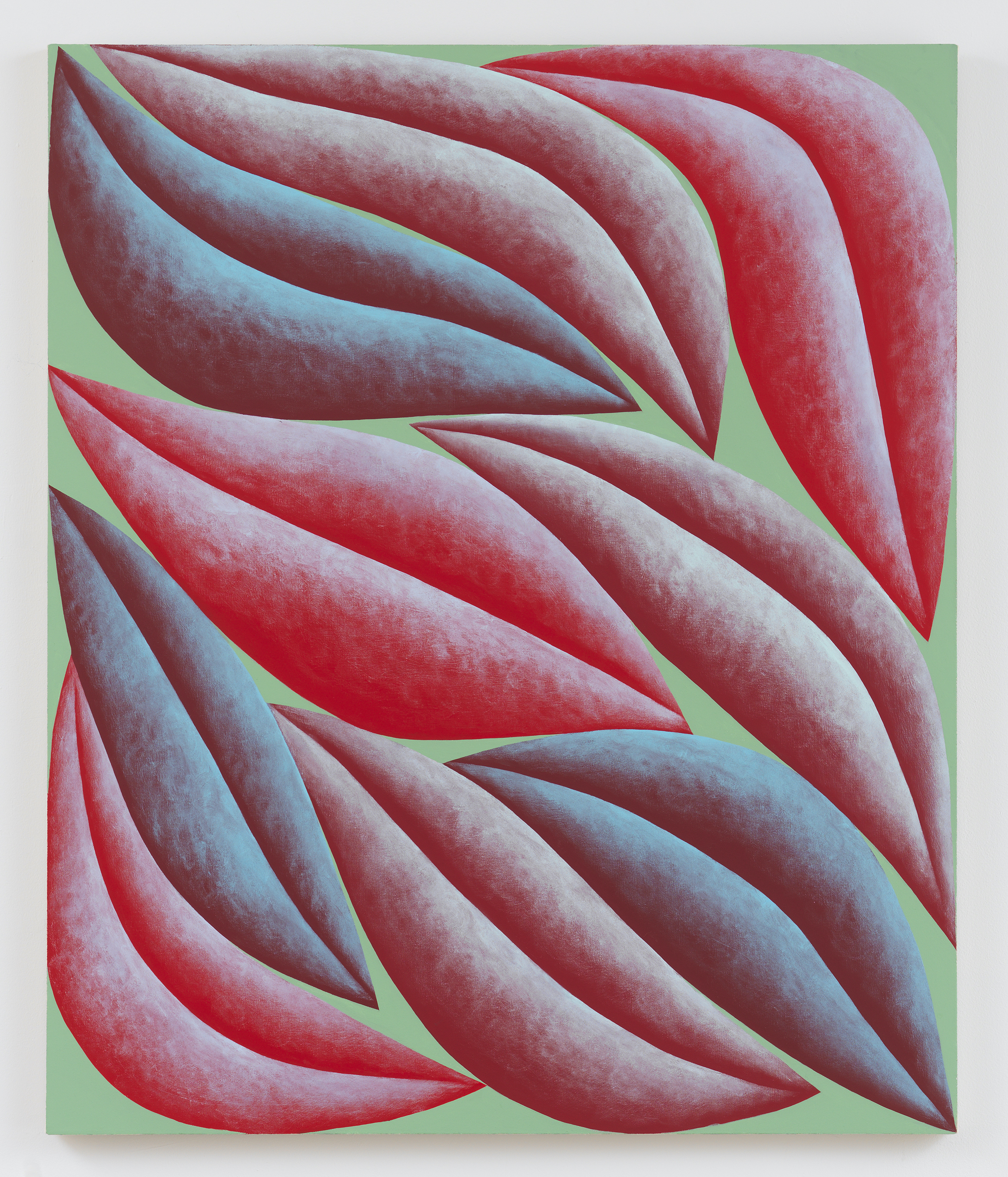Corydon Cowansage, Red, Blue, Green, 2019, acrylic and vinyl paint on canvas, 20 x 18 inches