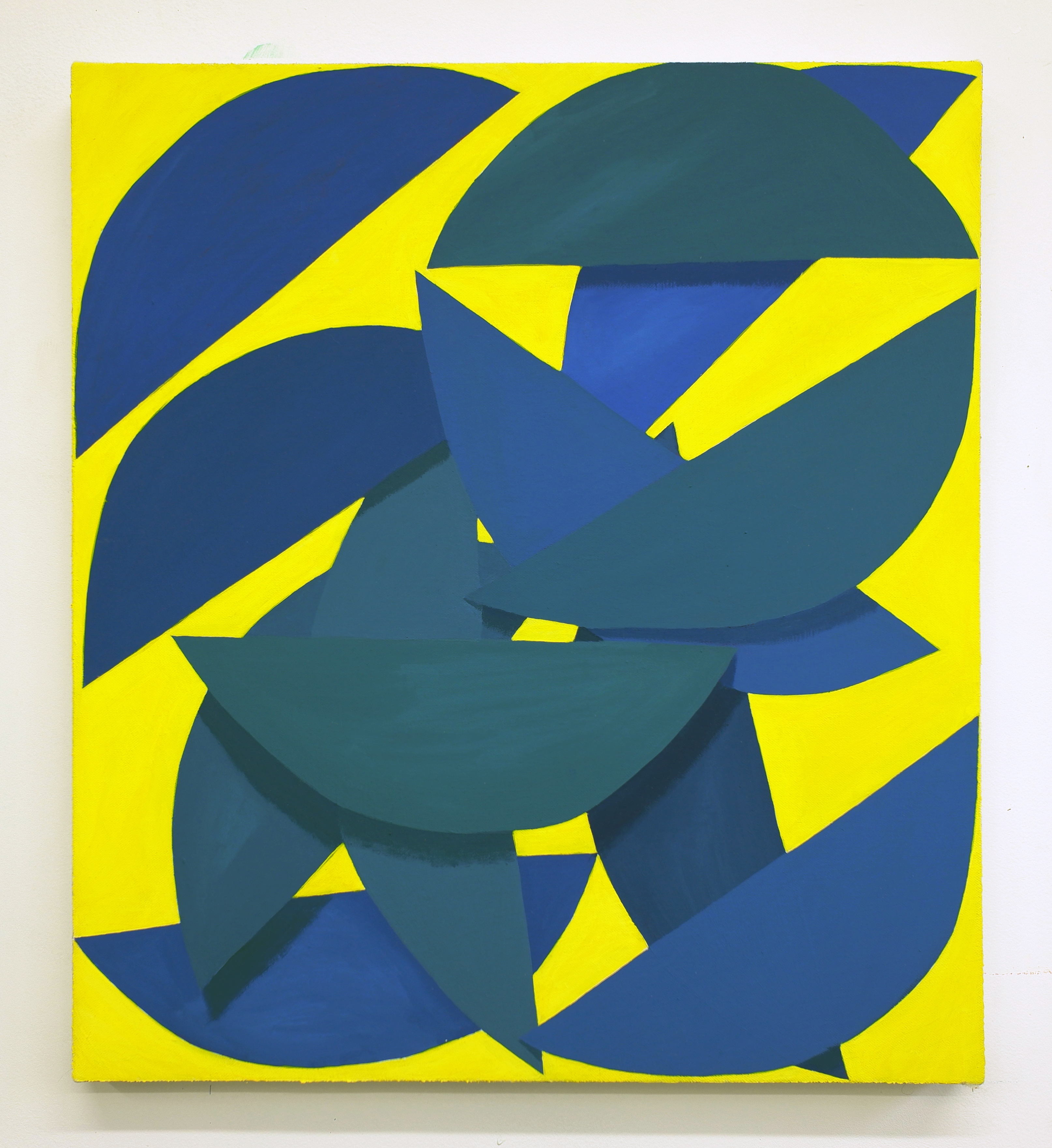 Corydon Cowansage, Yellow and Blue, 2019, acrylic and vinyl paint on canvas, 20 x 18 inches
