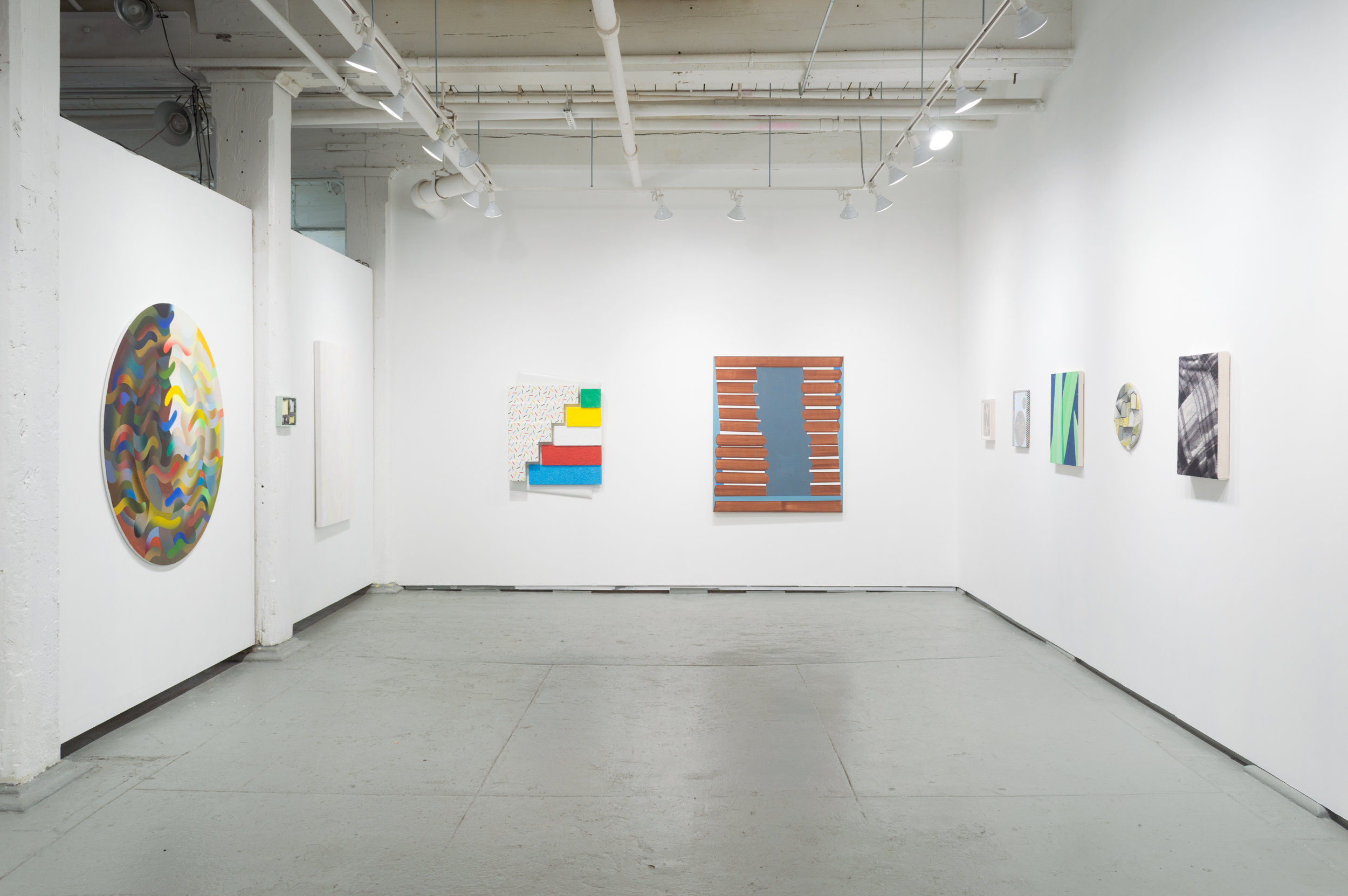 Installation view of When Geometry Smiles at Ortega y Gasset Projects in Brooklyn, NY, 2018