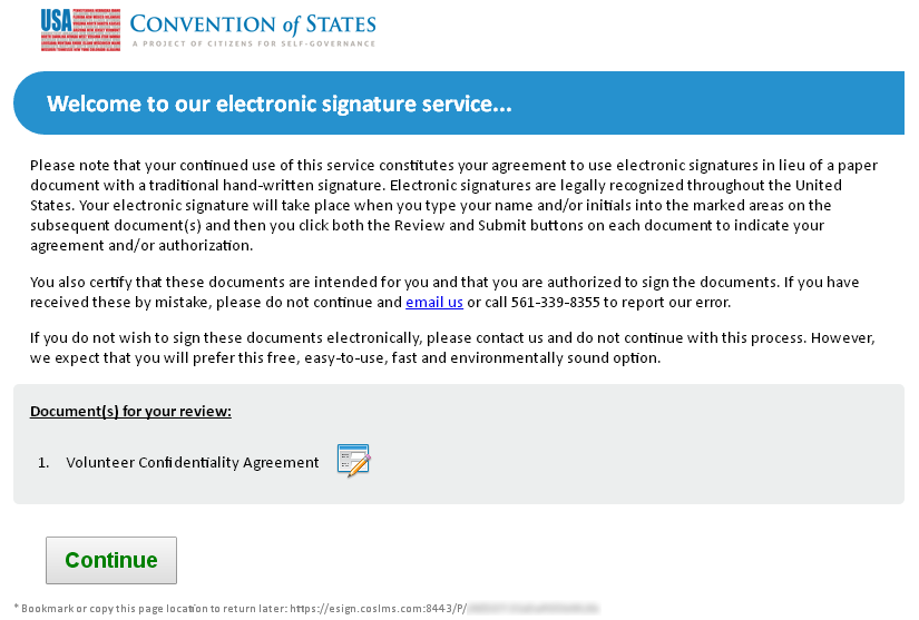 Signing The Volunteer Confidentiality Agreement Cosaction