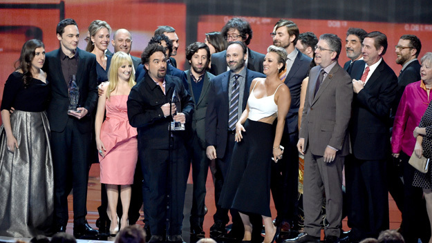 """LOS ANGELES, CA - JANUARY 07:  The cast and crew of """"The Big Bang Theory"""" accept the Favorite TV Show award onstage at The 41st Annual People's Choice Awards at Nokia Theatre LA Live on January 7, 2015 in Los Angeles, California.  (Photo by Kevin Winter/Getty Images)"""