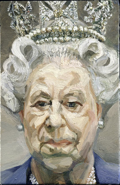 """Retrato del pintor Lucian Freud que mantiene dividida a la crítica por la expresión poco favorable, o demasiado honesta, de la monarca. """"HM Queen Elizabeth II"""", (2000–2001) apenas tiene 23,5 cm de alto."""