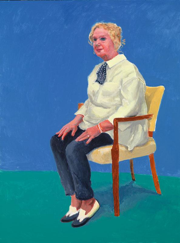 La diseñadora inglesa Celia Birtwell, quien es una musa recurrente de Hockney.