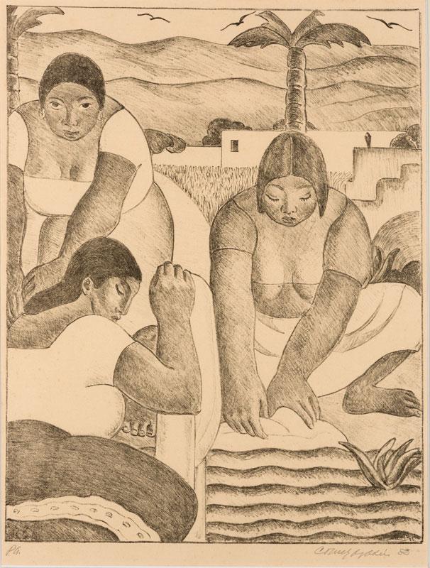 """""""Las lavanderas en el Rímac"""" (1983), de Carlos Quízpez Asín."""