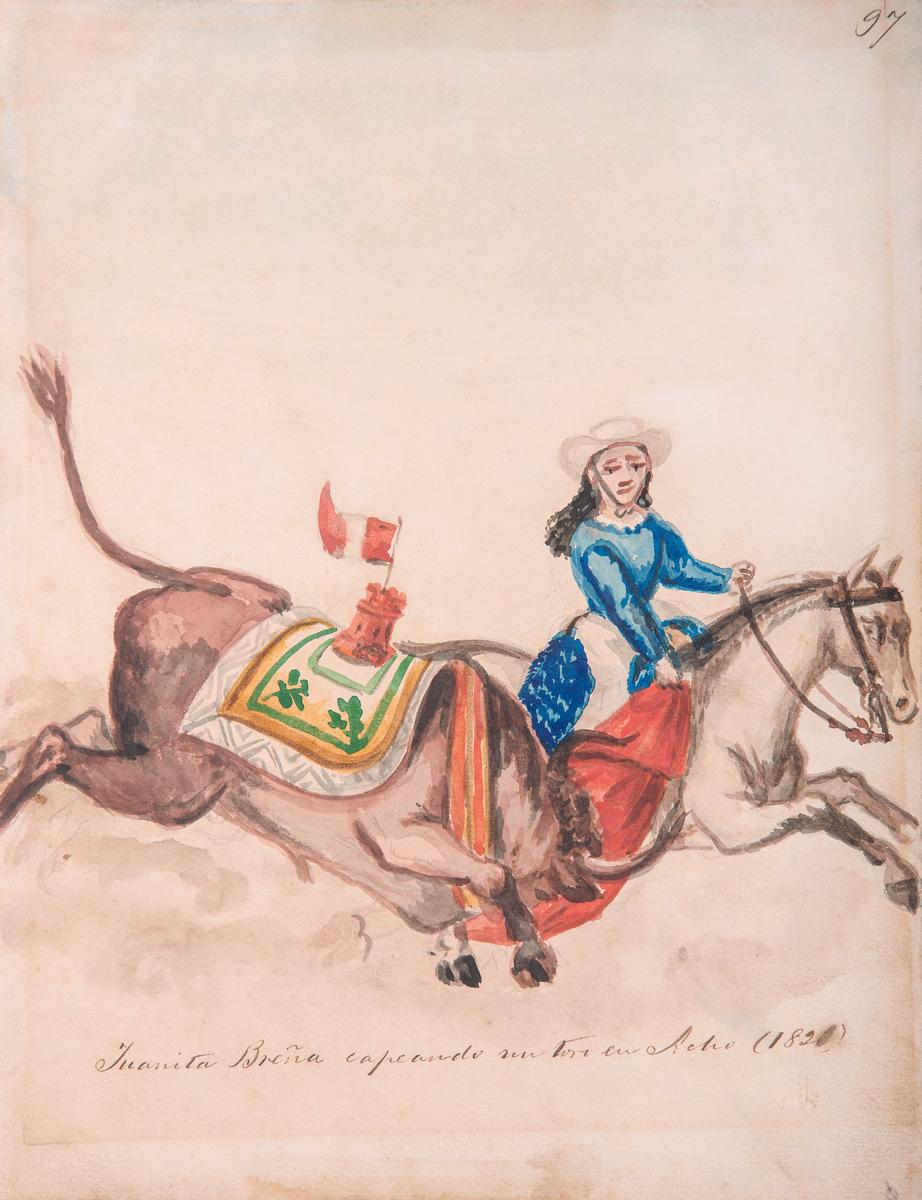 Juanita Breña capeando un toro en Acho