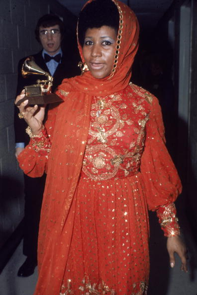 Aretha Franklin With Her Grammy Award