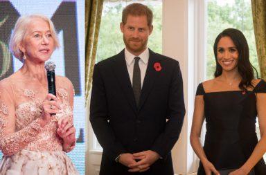 Helen Mirren, príncipe Harry y Meghan Markle