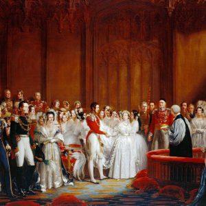 Pintura de Sir George Hayter (1792-1871) que representa el matrimonio de la Reina Victoria y el Príncipe Alberto en la Capilla Real, el Palacio de St James, el 10 de febrero de 1840. Esta imagen se completó en 1842.