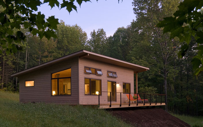 Green cottages cabins designed by vermont architect for Modern cabin homes