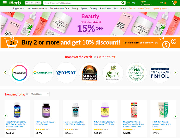 Promo codes in iHerb store