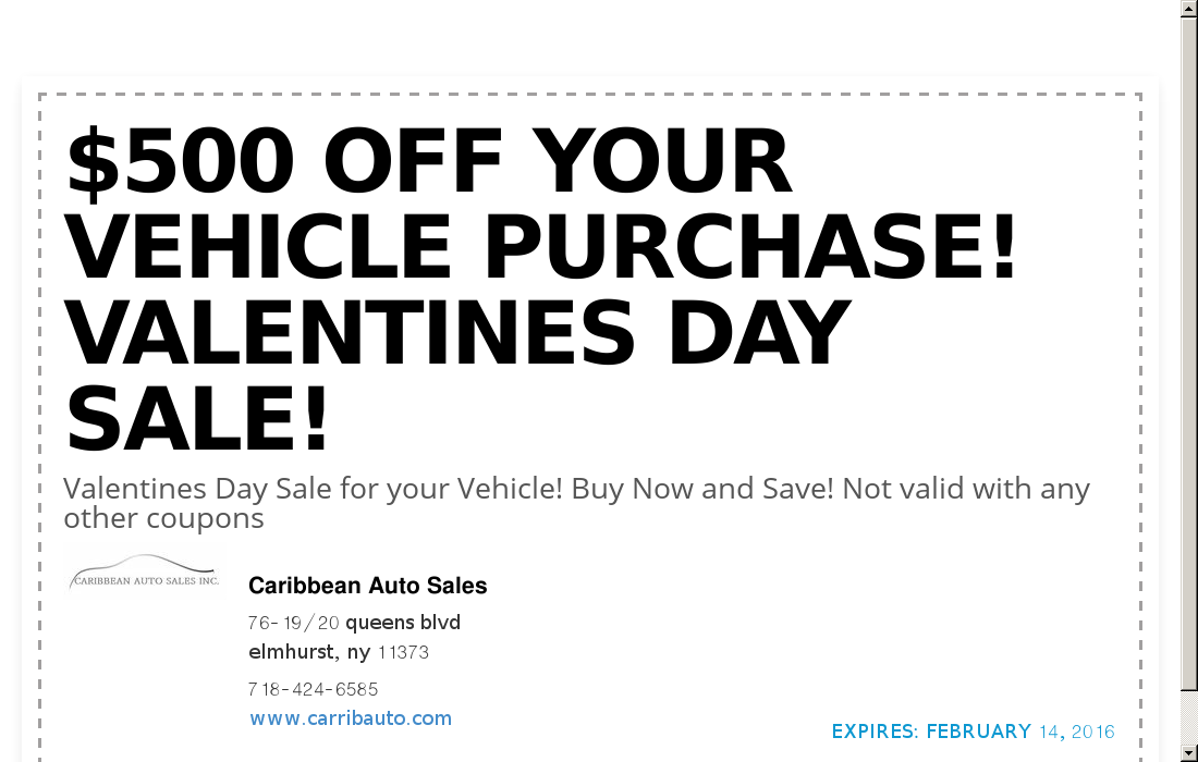 Caribbean Auto Sales >> Caribbean Auto Sales Coupon 500 Off Your Vehicle Purch