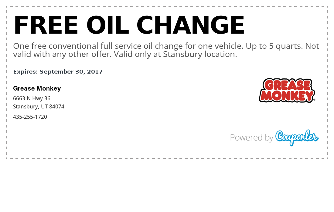 Grease Monkey Coupon Free Oil Change Couponler
