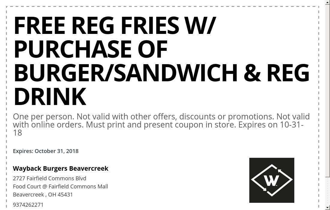 coupons for fairfield commons mall