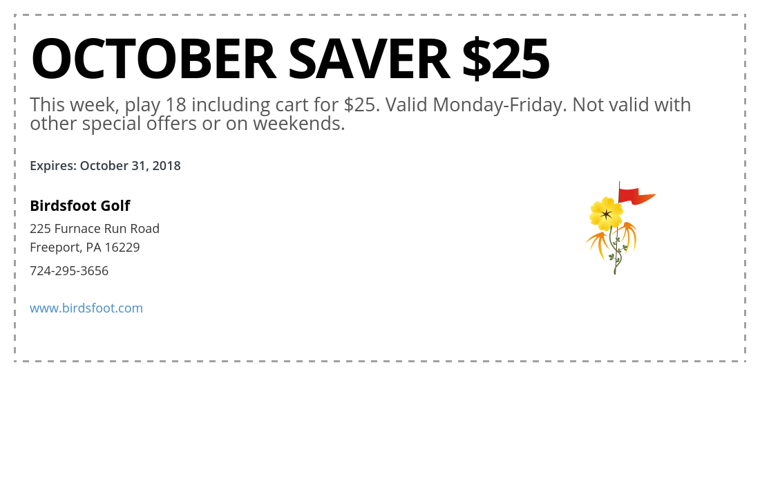 birdsfoot golf coupons