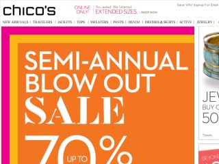 How to Use Chico's Coupons Chico's coupons range from a percentage off your order such as 10% off $50 to a set amount like $10 off $ They also offer BOGO offers that can range from buy one, get one free to buy one, get one 50% off. To redeem your savings, apply coupon code in the special promotional field at checkout. How to Save at 83%(68).