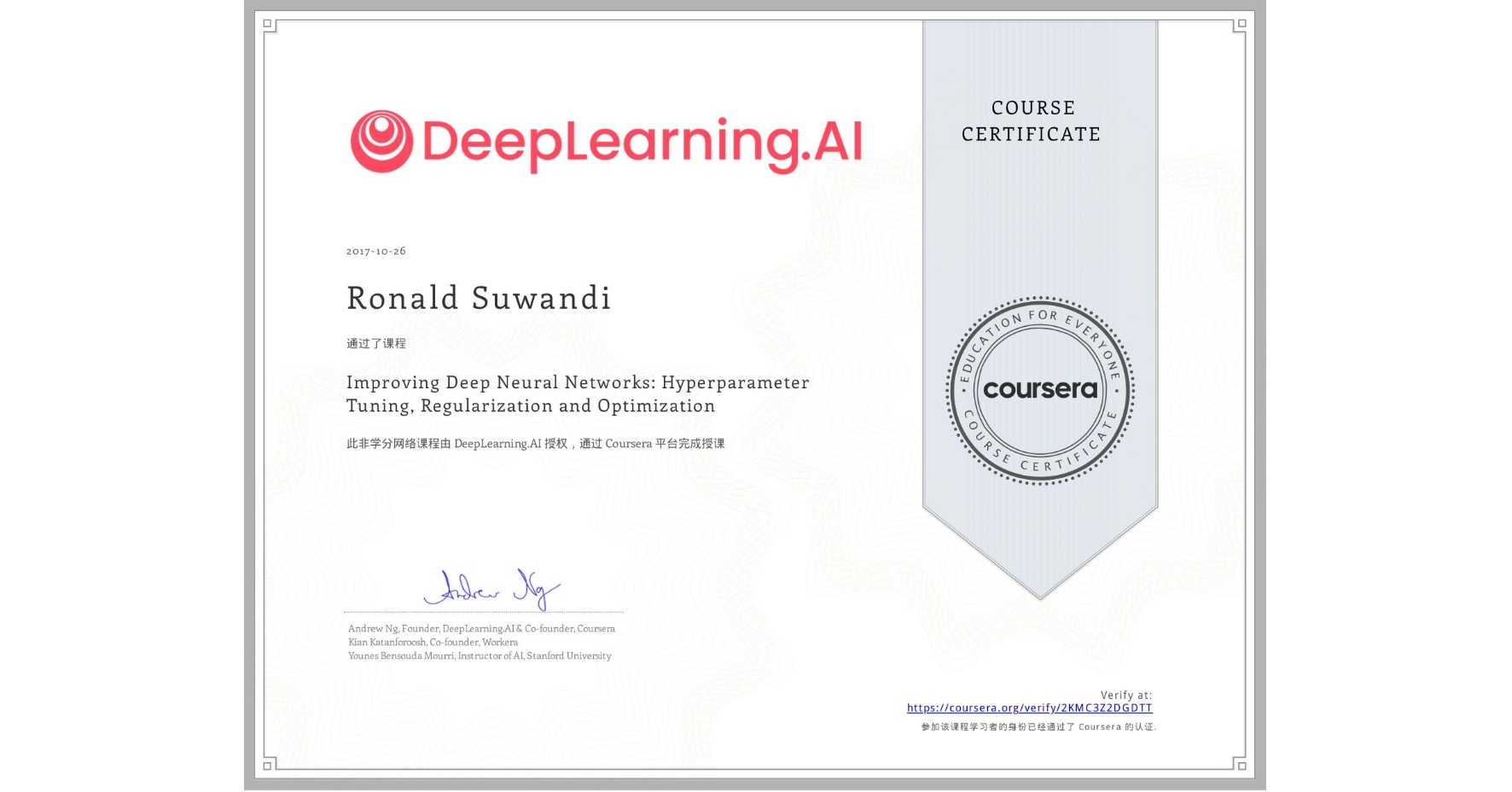 View certificate for Ronald Suwandi, Improving Deep Neural Networks: Hyperparameter Tuning, Regularization and Optimization, an online non-credit course authorized by DeepLearning.AI and offered through Coursera