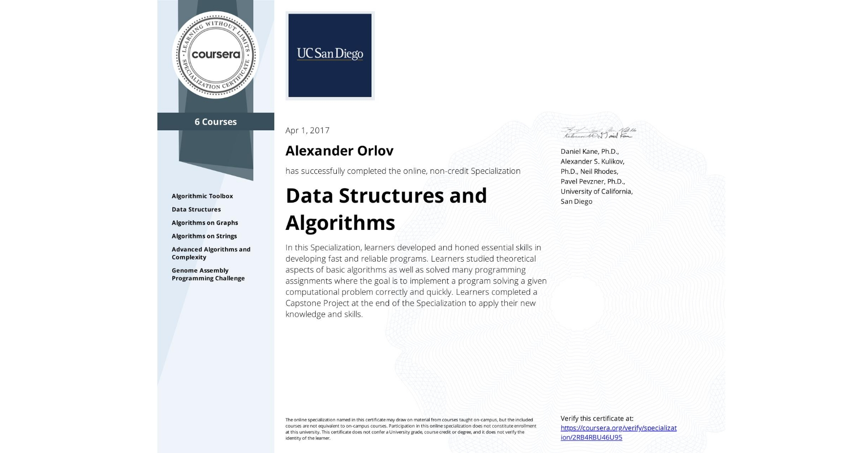 View certificate for Alexander Orlov, Data Structures and Algorithms, offered through Coursera. In this Specialization, learners developed and honed essential skills in developing fast and reliable programs. Learners studied theoretical aspects of basic algorithms as well as solved many programming assignments where the goal is to implement a program solving a given computational problem correctly and quickly. Learners completed a Capstone Project at the end of the Specialization to apply their new knowledge and skills.