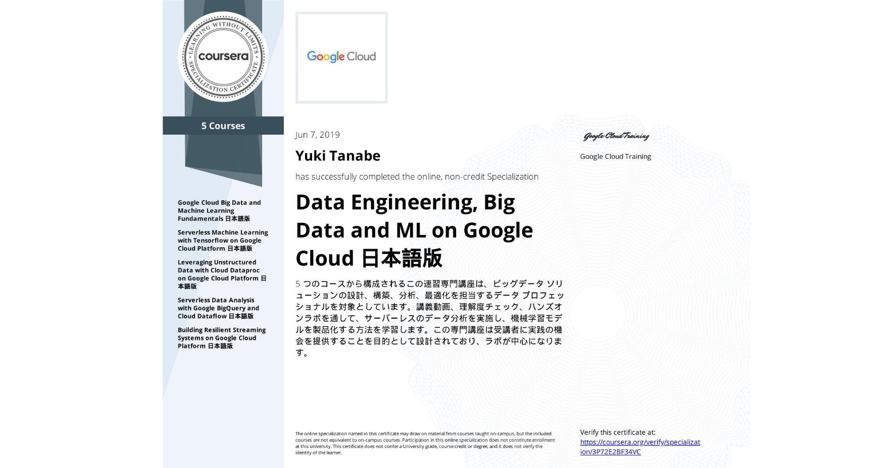 View certificate for Yuki Tanabe, Data Engineering, Big Data and ML on Google Cloud 日本語版, offered through Coursera. 5 つのコースから構成されるこの速習専門講座は、ビッグデータ ソリューションの設計、構築、分析、最適化を担当するデータ プロフェッショナルを対象としています。講義動画、理解度チェック、ハンズオンラボを通して、サーバーレスのデータ分析を実施し、機械学習モデルを製品化する方法を学習します。この専門講座は受講者に実践の機会を提供することを目的として設計されており、ラボが中心になります。