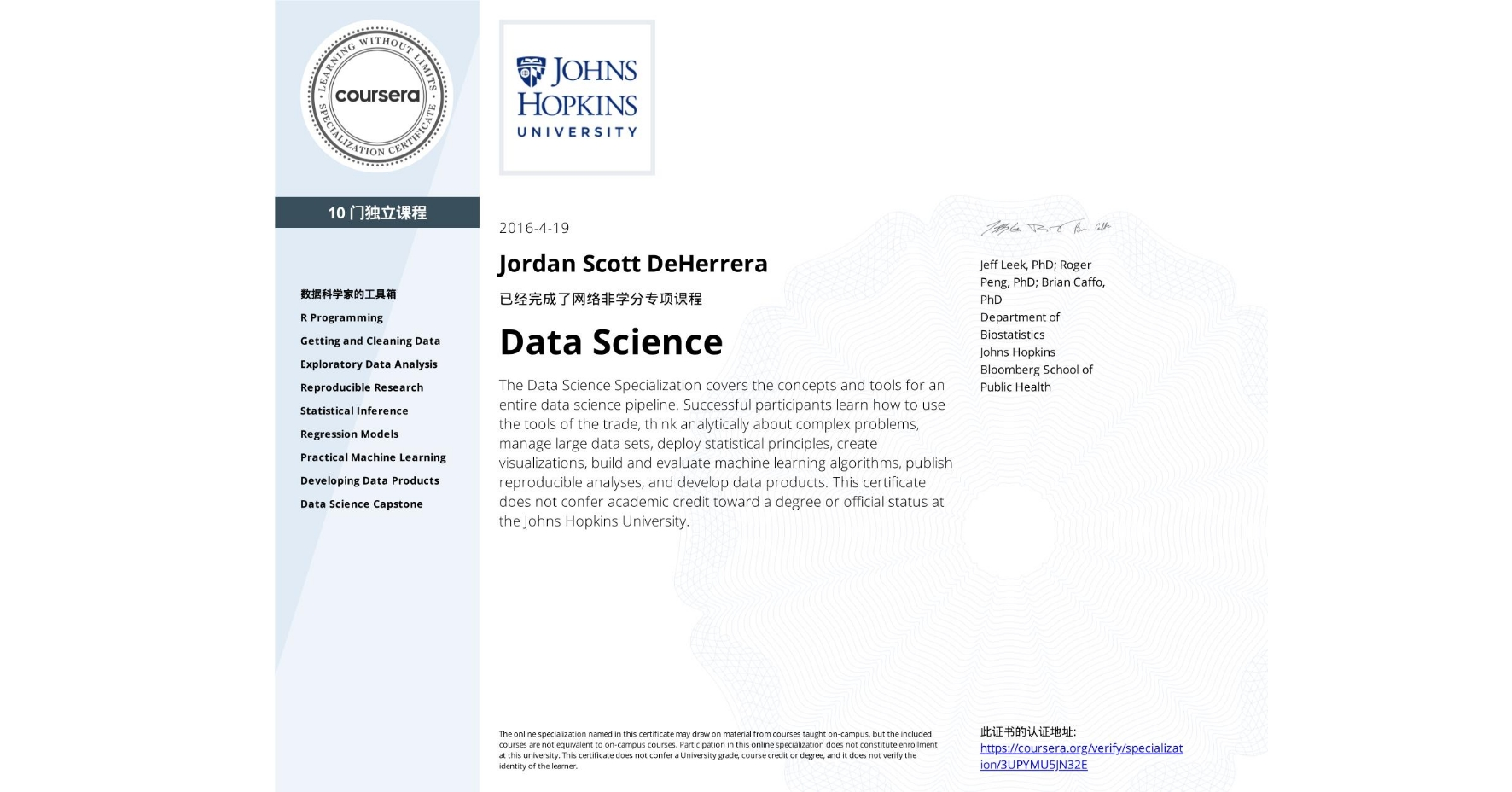 View certificate for Jordan Scott DeHerrera, Data Science, offered through Coursera. The Data Science Specialization covers the concepts and tools for an entire data science pipeline. Successful participants learn how to use the tools of the trade, think analytically about complex problems, manage large data sets, deploy statistical principles, create visualizations, build and evaluate machine learning algorithms, publish reproducible analyses, and develop data products.    This certificate does not confer academic credit toward a degree or official status at the Johns Hopkins University.