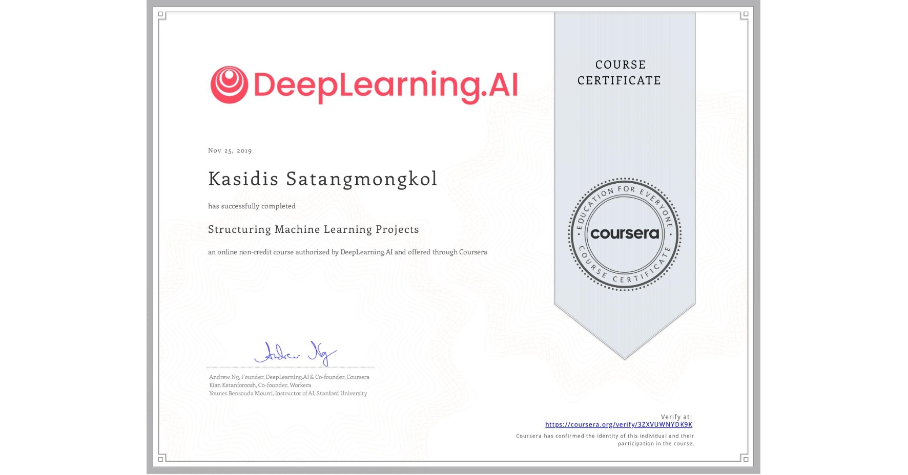 View certificate for KASIDIS SATANGMONGKOL, Structuring Machine Learning Projects, an online non-credit course authorized by DeepLearning.AI and offered through Coursera