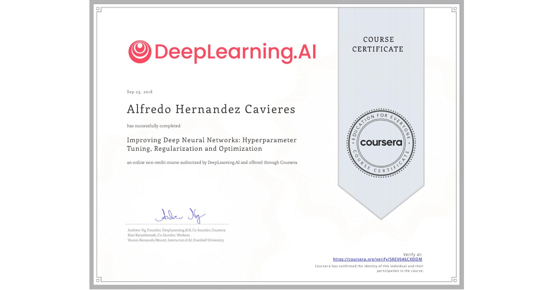 View certificate for Alfredo Hernandez Cavieres, Improving Deep Neural Networks: Hyperparameter tuning, Regularization and Optimization, an online non-credit course authorized by DeepLearning.AI and offered through Coursera