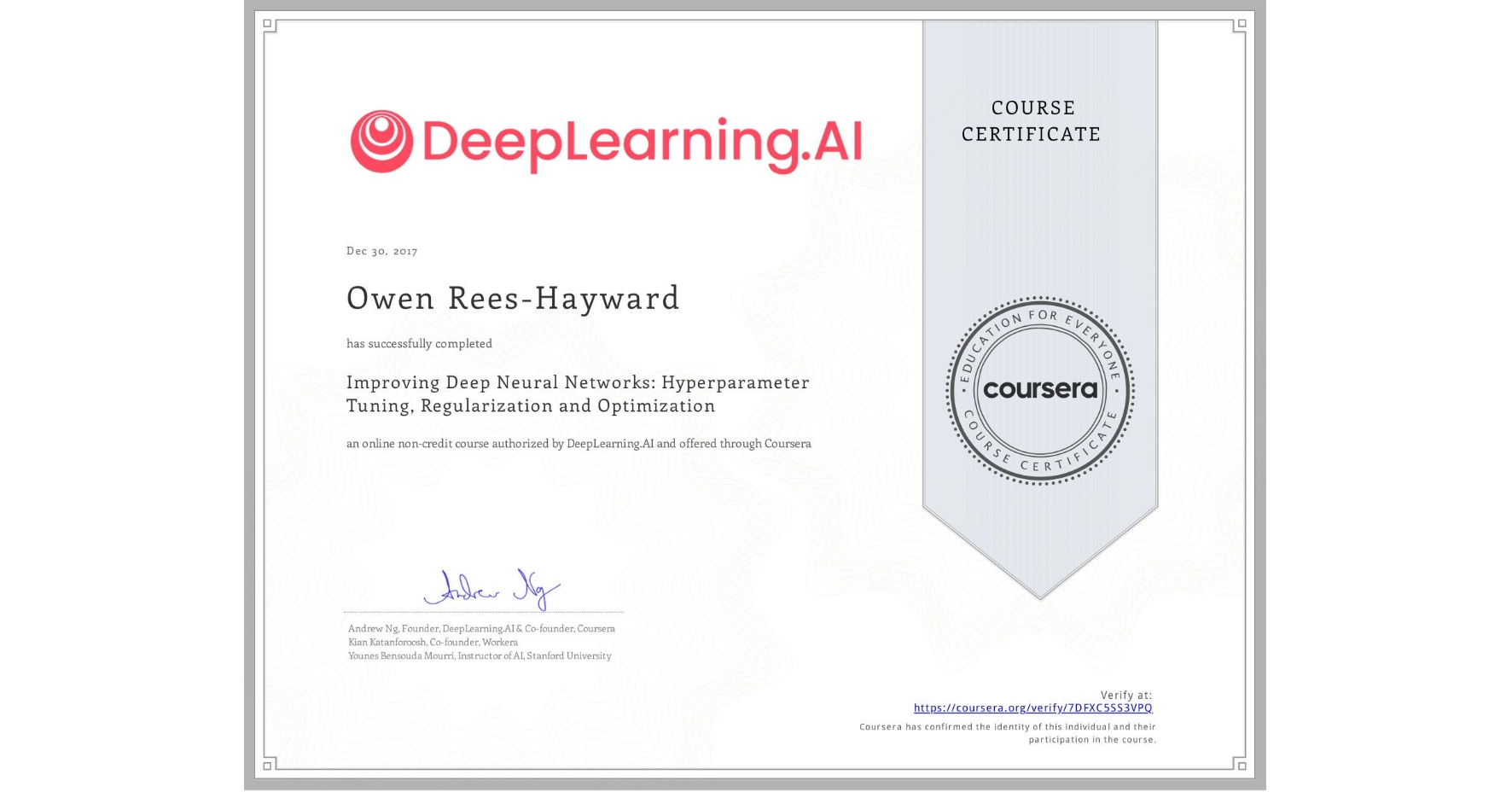 View certificate for Owen Rees-Hayward, Improving Deep Neural Networks: Hyperparameter Tuning, Regularization and Optimization, an online non-credit course authorized by DeepLearning.AI and offered through Coursera