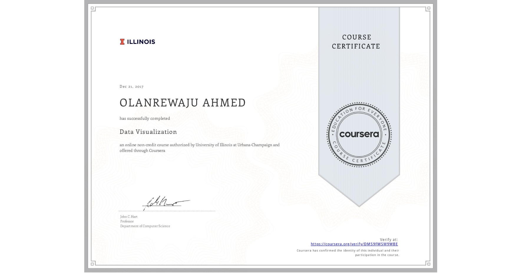 View certificate for OLANREWAJU AHMED, Data Visualization, an online non-credit course authorized by University of Illinois at Urbana-Champaign and offered through Coursera