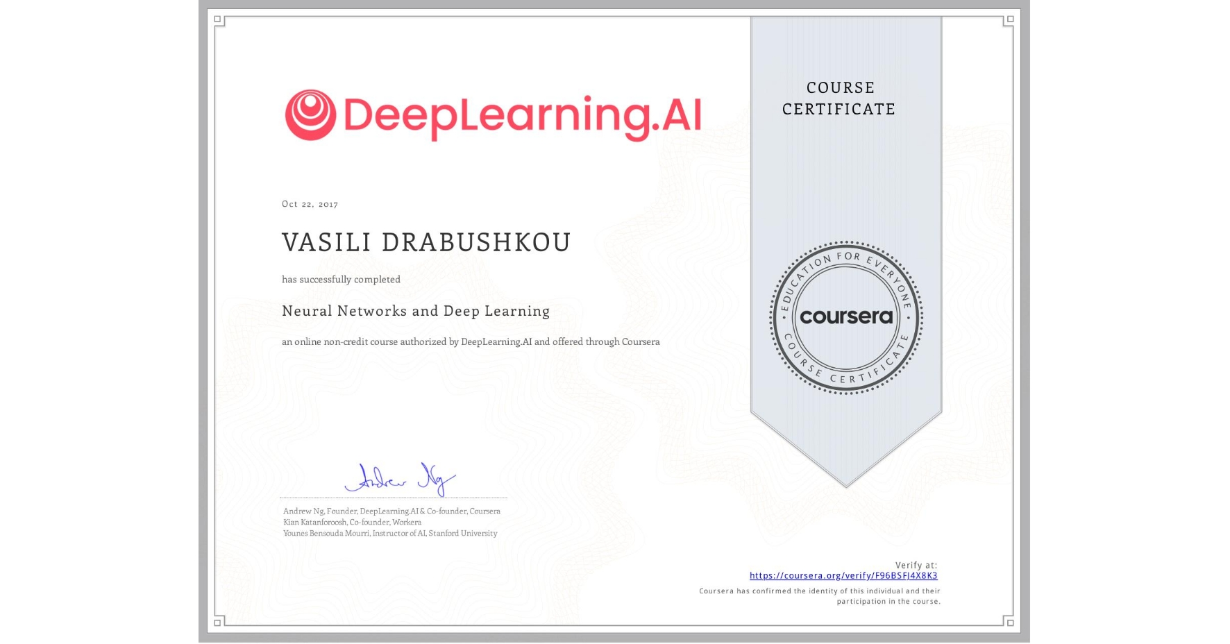 View certificate for VASILI DRABUSHKOU, Neural Networks and Deep Learning, an online non-credit course authorized by DeepLearning.AI and offered through Coursera