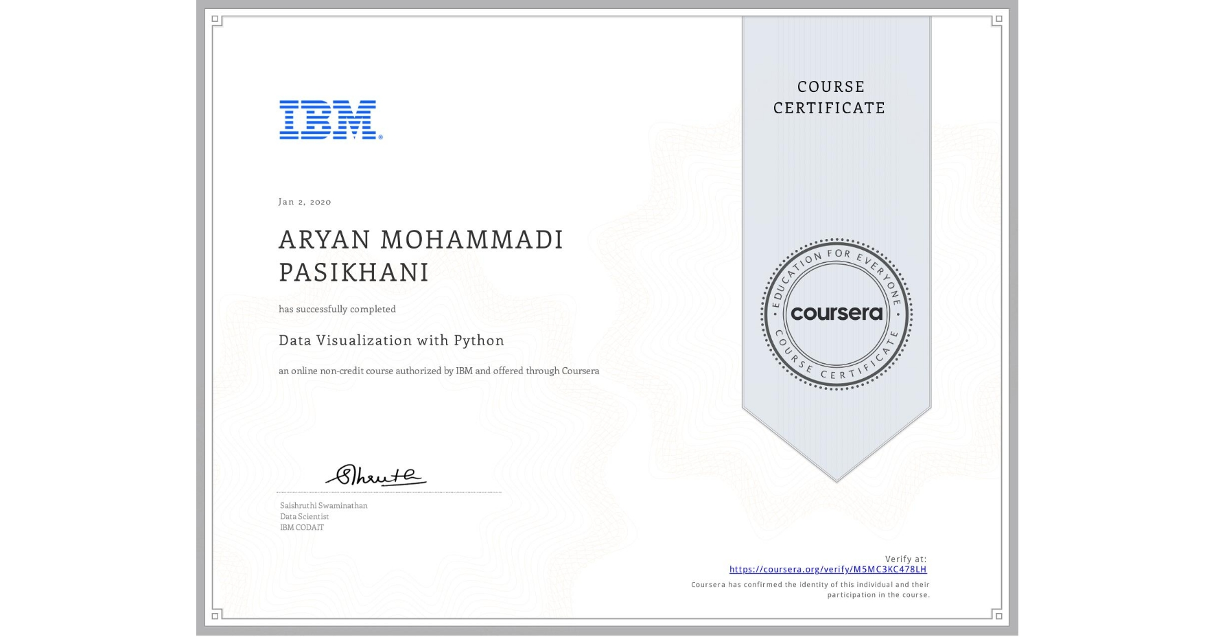 View certificate for ARYAN MOHAMMADI PASIKHANI, Data Visualization with Python, an online non-credit course authorized by IBM and offered through Coursera