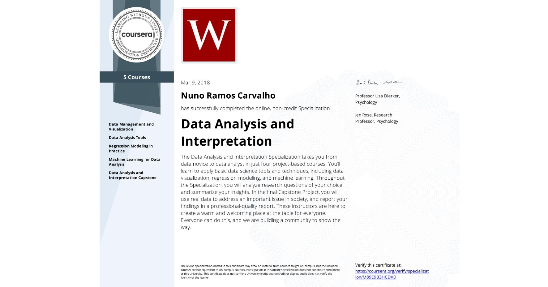 View certificate for Nuno Ramos Carvalho, Data Analysis and Interpretation, offered through Coursera. The Data Analysis and Interpretation Specialization takes you from data novice to data analyst in just four project-based courses. You'll learn to apply basic data science tools and techniques, including data visualization, regression modeling, and machine learning. Throughout the Specialization, you will analyze research questions of your choice and summarize your insights. In the final Capstone Project, you will use real data to address an important issue in society, and report your findings in a professional-quality report. These instructors are here to create a warm and welcoming place at the table for everyone. Everyone can do this, and we are building a community to show the way.
