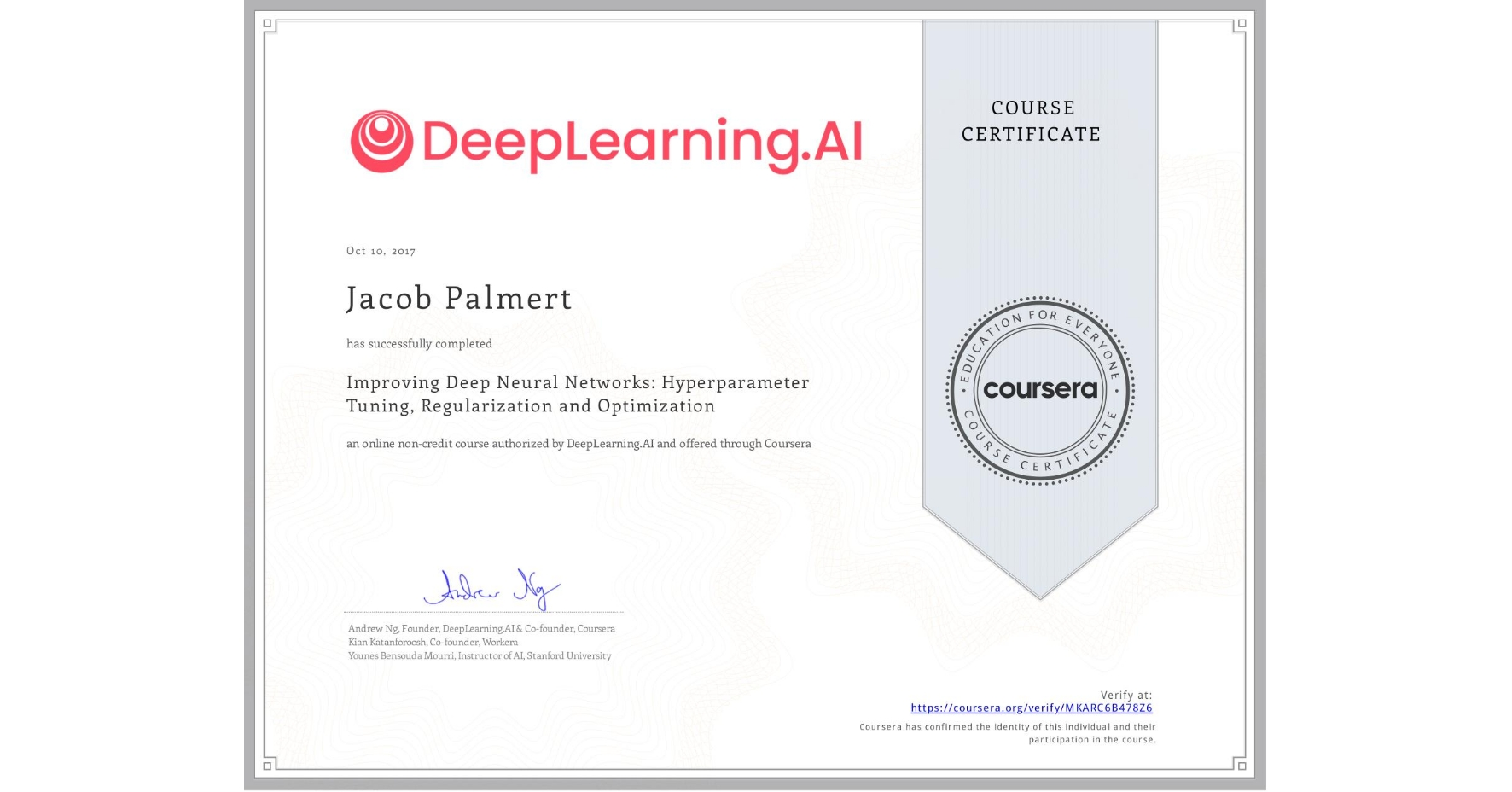 View certificate for Jacob Palmert, Improving Deep Neural Networks: Hyperparameter Tuning, Regularization and Optimization, an online non-credit course authorized by DeepLearning.AI and offered through Coursera