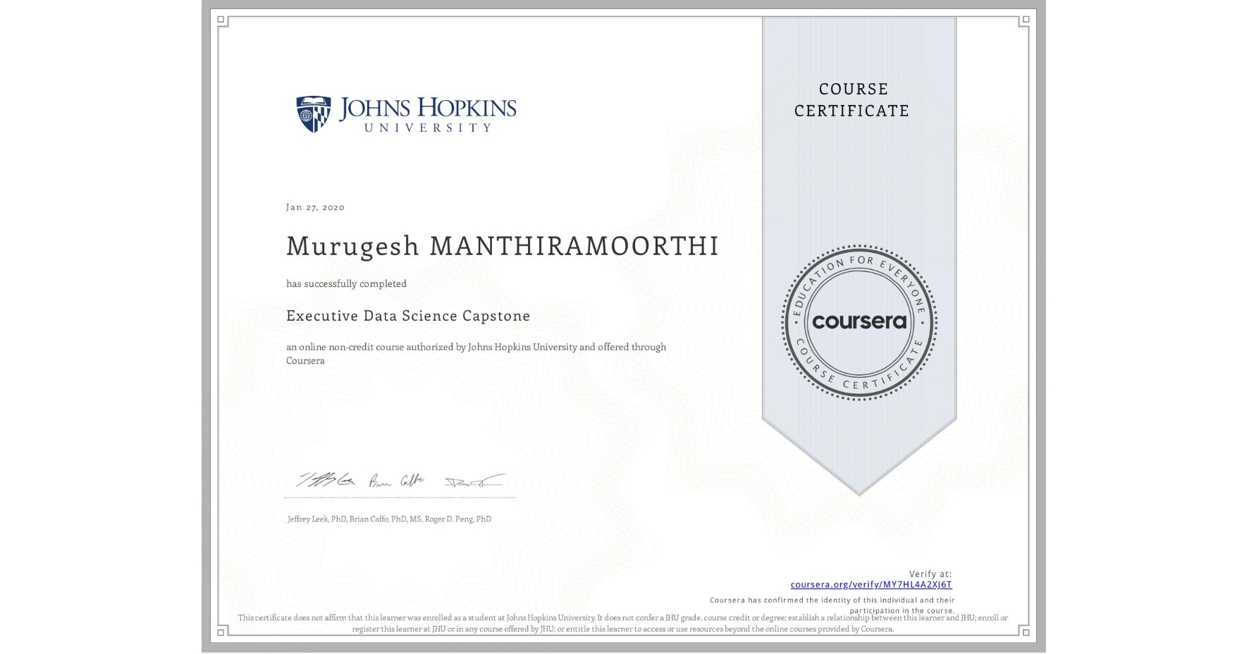 View certificate for Murugesh Manthiramoorthi, Executive Data Science Capstone, an online non-credit course authorized by Johns Hopkins University and offered through Coursera