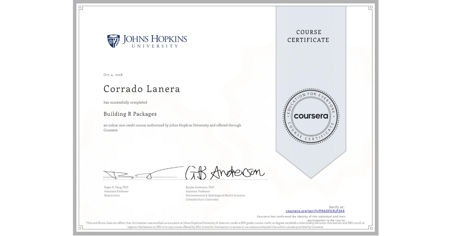 View certificate for Corrado Lanera, Building R Packages, an online non-credit course authorized by Johns Hopkins University and offered through Coursera