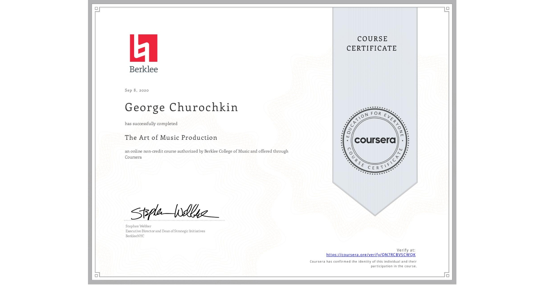 View certificate for Георгий Чурочкин, The Art of Music Production, an online non-credit course authorized by Berklee College of Music and offered through Coursera