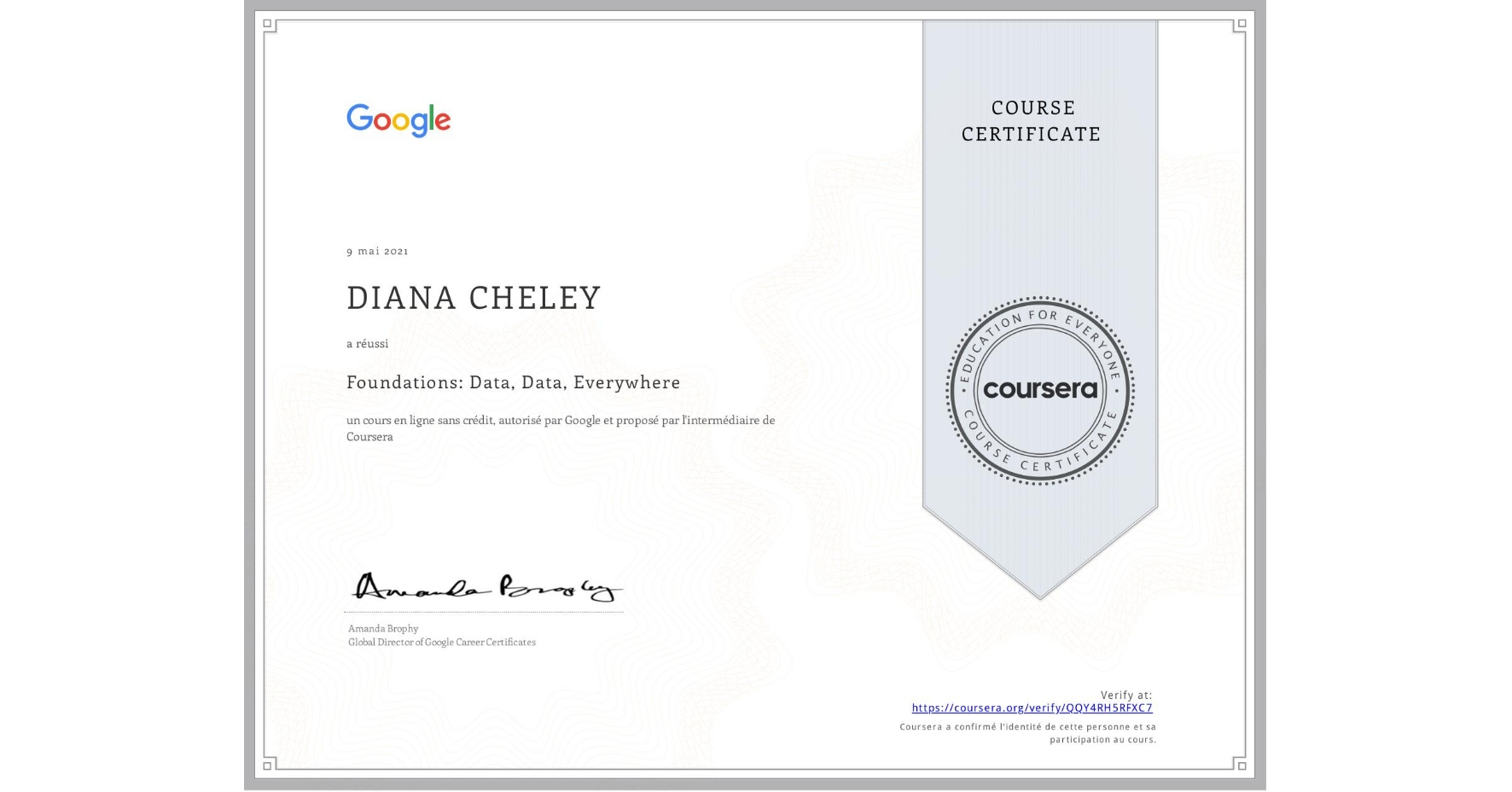 View certificate for Dziyana Chalei, Foundations: Data, Data, Everywhere, an online non-credit course authorized by Google and offered through Coursera