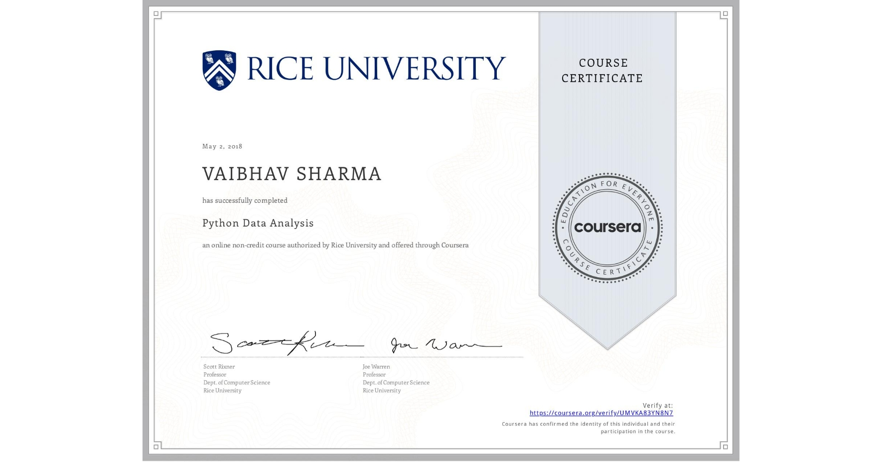 View certificate for VAIBHAV SHARMA, Python Data Analysis, an online non-credit course authorized by Rice University and offered through Coursera