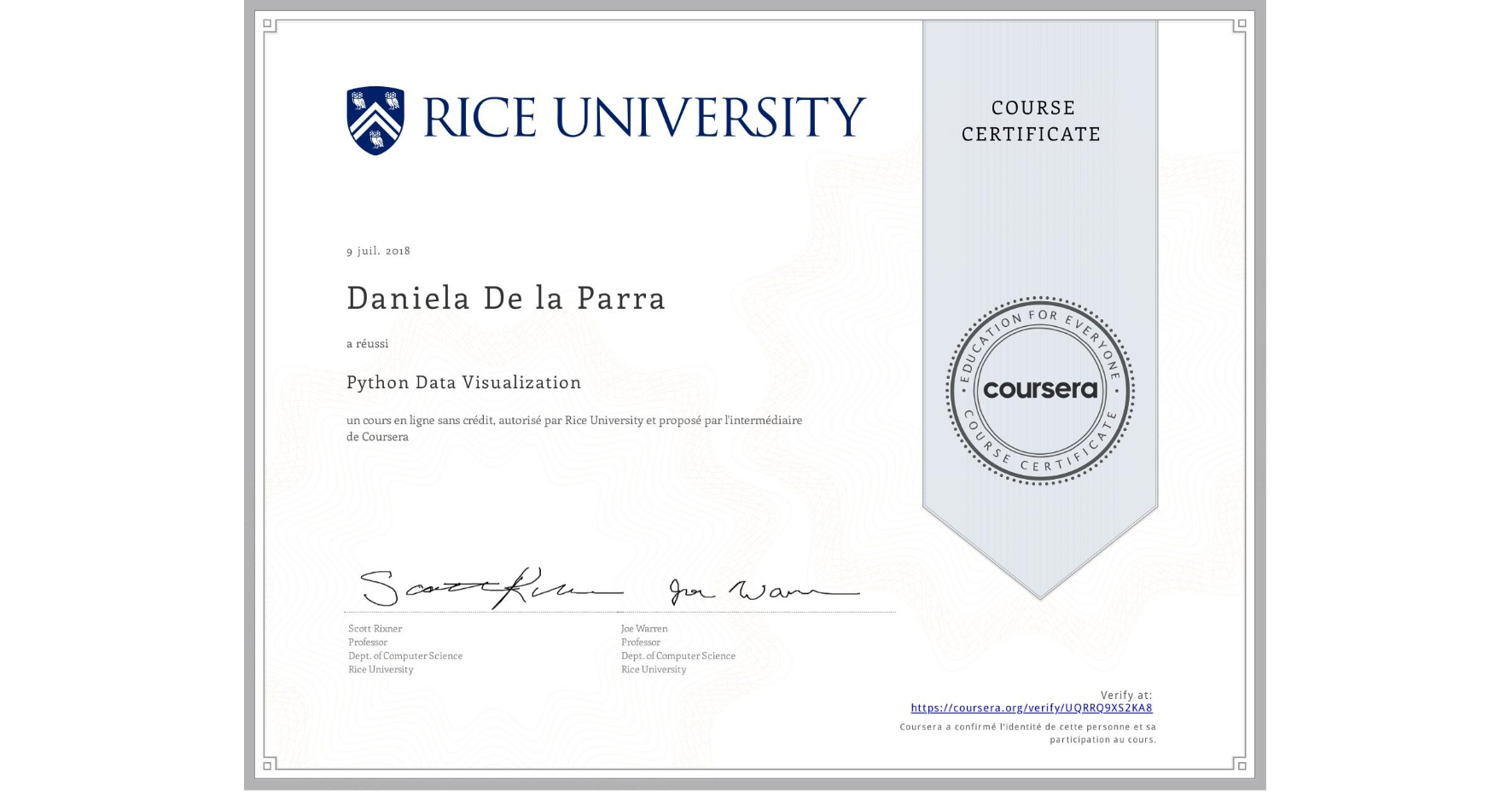 View certificate for Daniela De la Parra, Python Data Visualization, an online non-credit course authorized by Rice University and offered through Coursera