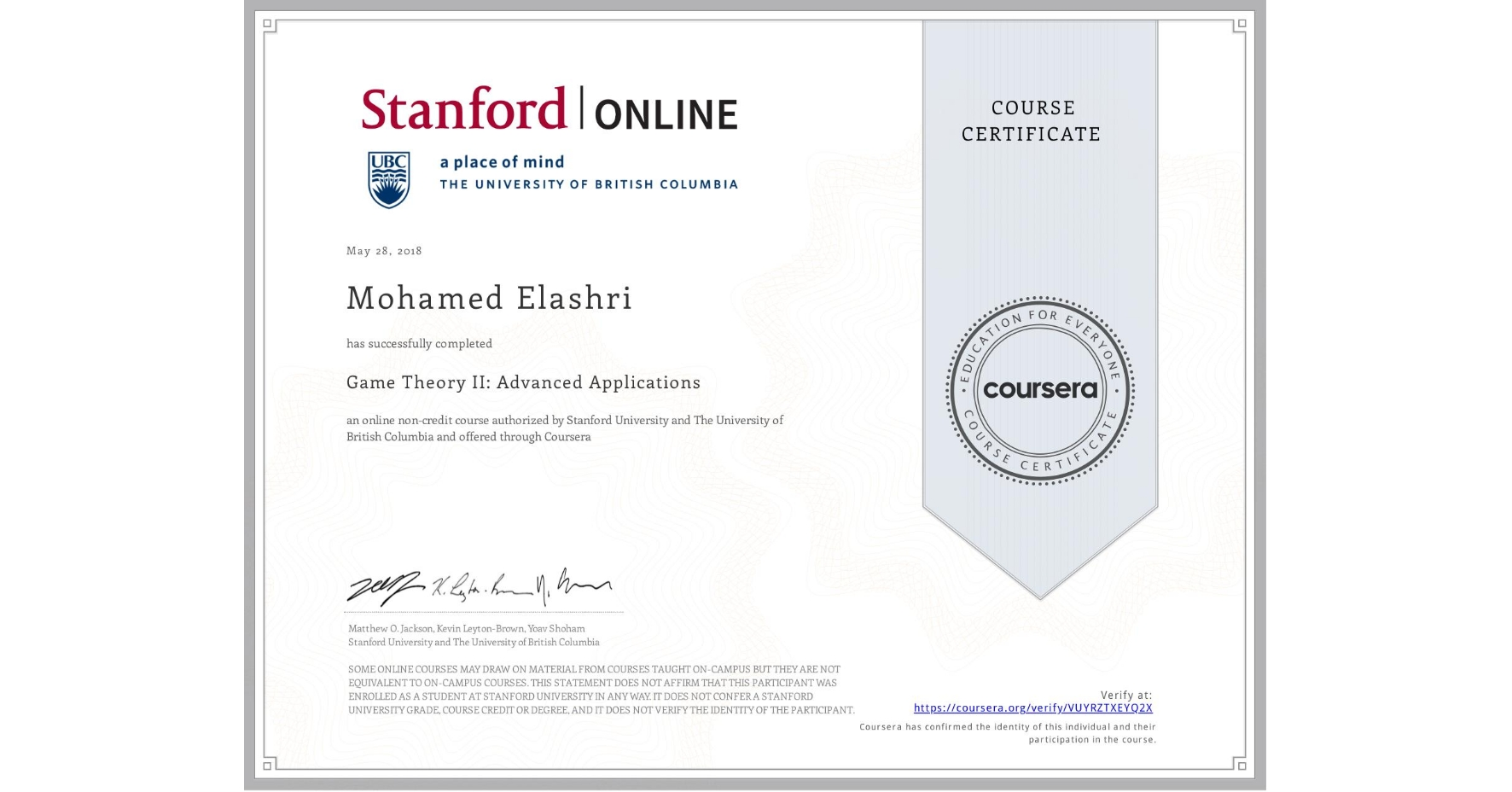 View certificate for Mohamed Elashri, Game Theory II: Advanced Applications, an online non-credit course authorized by Stanford University & The University of British Columbia and offered through Coursera