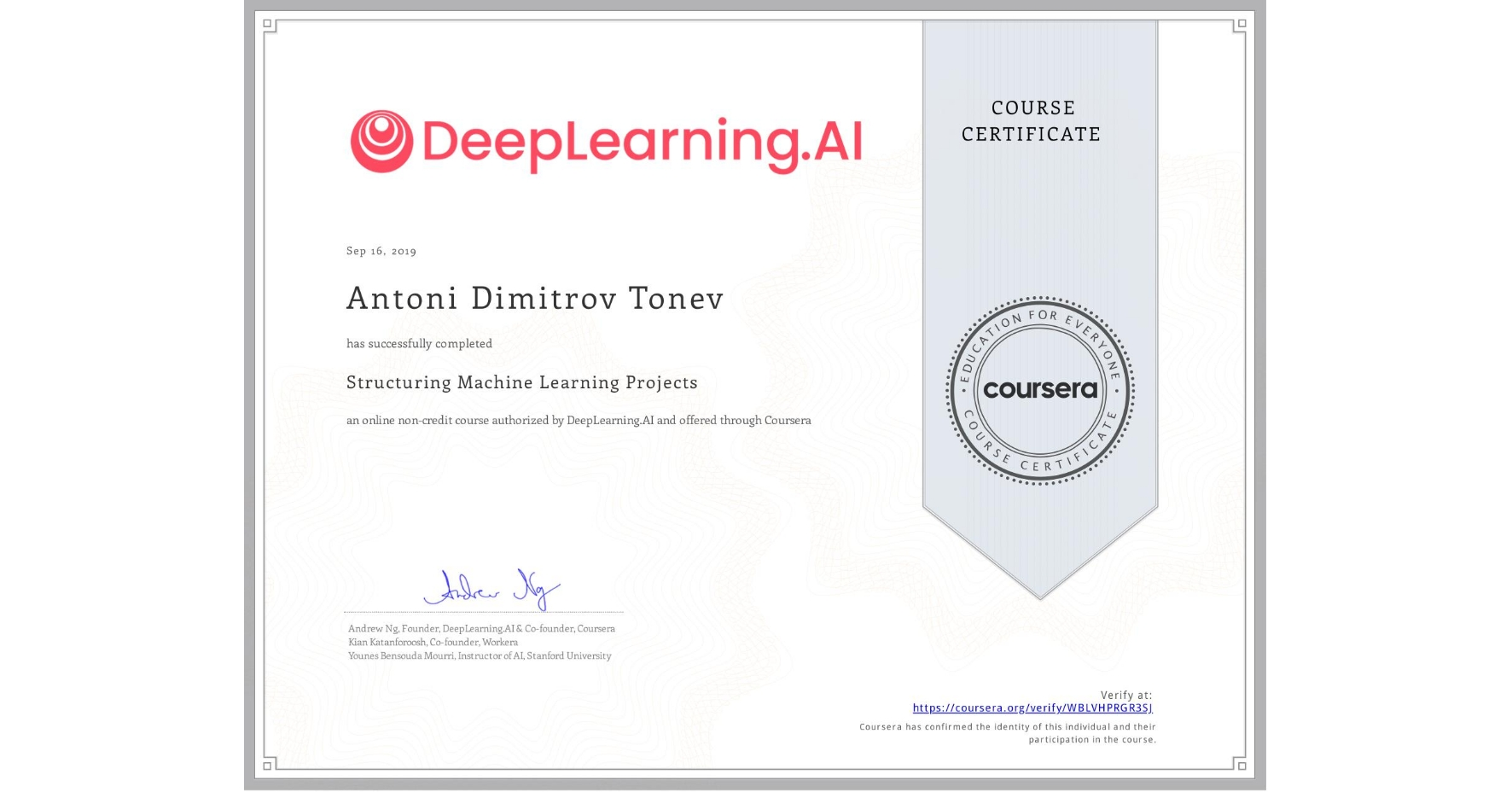 View certificate for Antoni Dimitrov Tonev, Structuring Machine Learning Projects, an online non-credit course authorized by DeepLearning.AI and offered through Coursera
