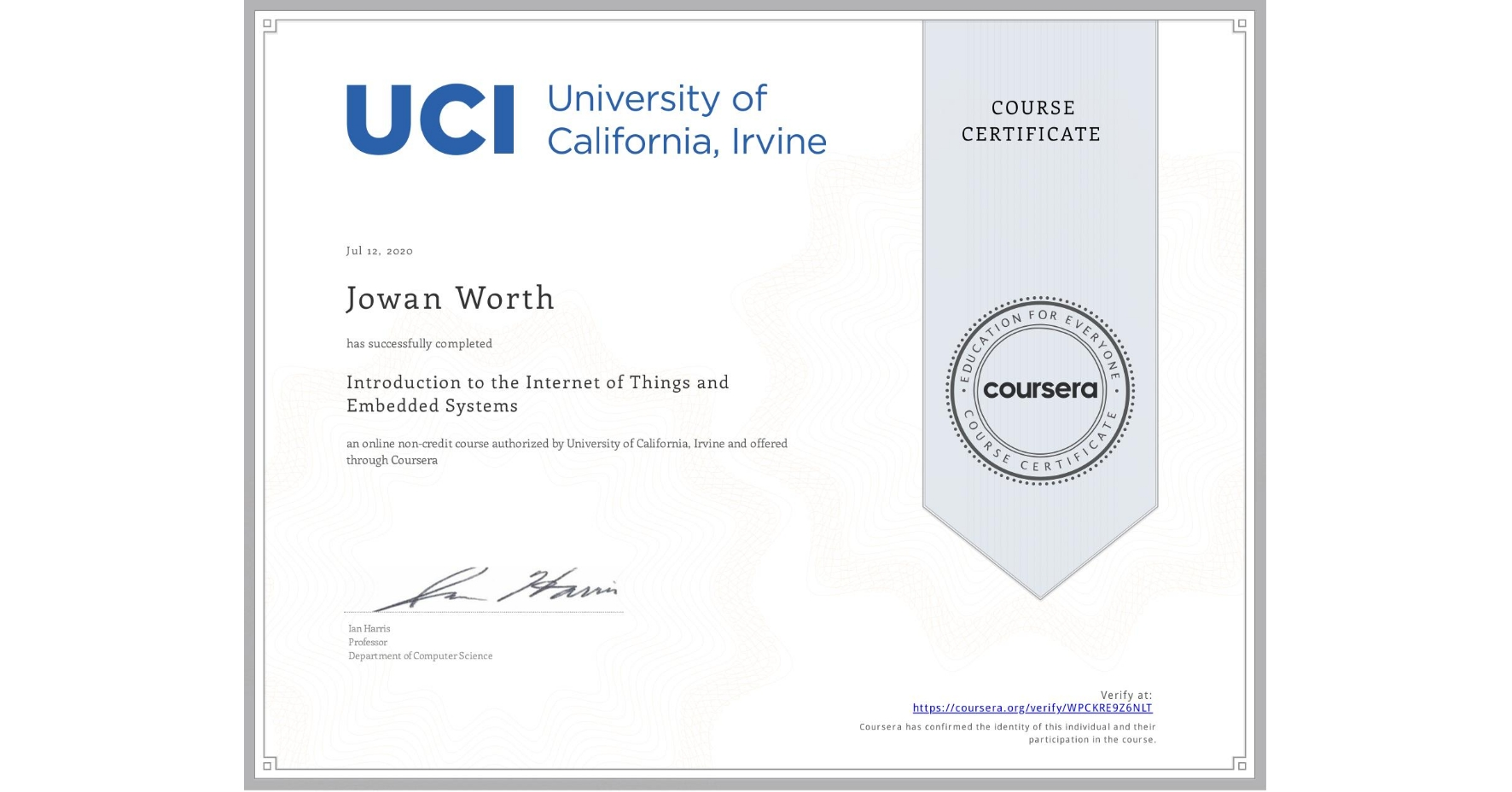 View certificate for Jowan Worth, Introduction to the Internet of Things and Embedded Systems, an online non-credit course authorized by University of California, Irvine and offered through Coursera