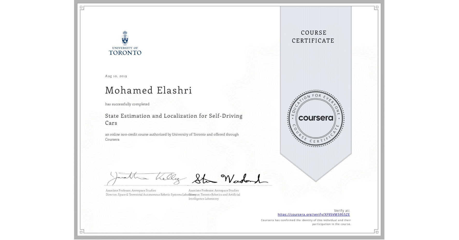 View certificate for Mohamed Elashri, State Estimation and Localization for Self-Driving Cars, an online non-credit course authorized by University of Toronto and offered through Coursera