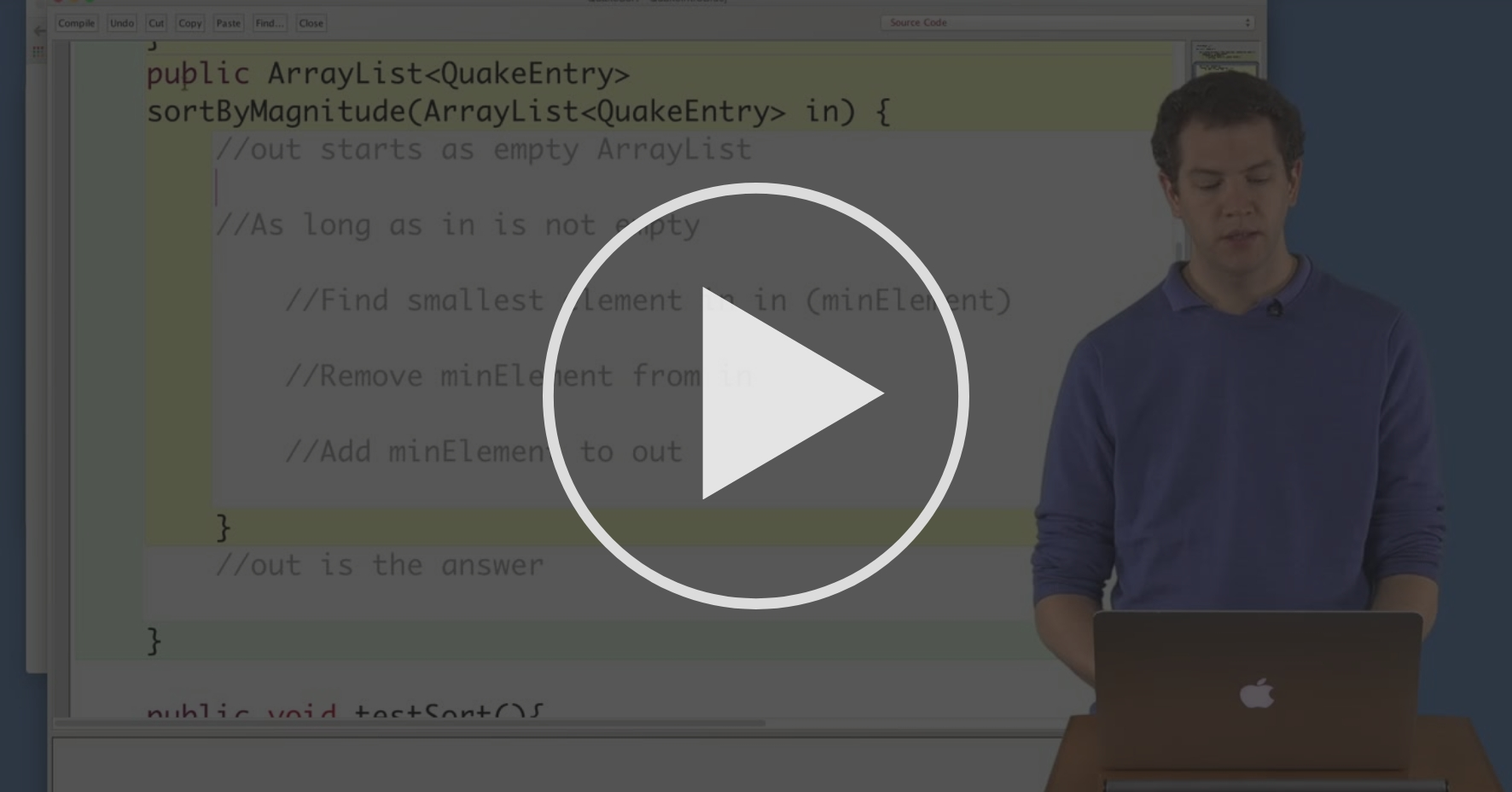 Translating To Code Earthquakes Sorting Algorithms Coursera