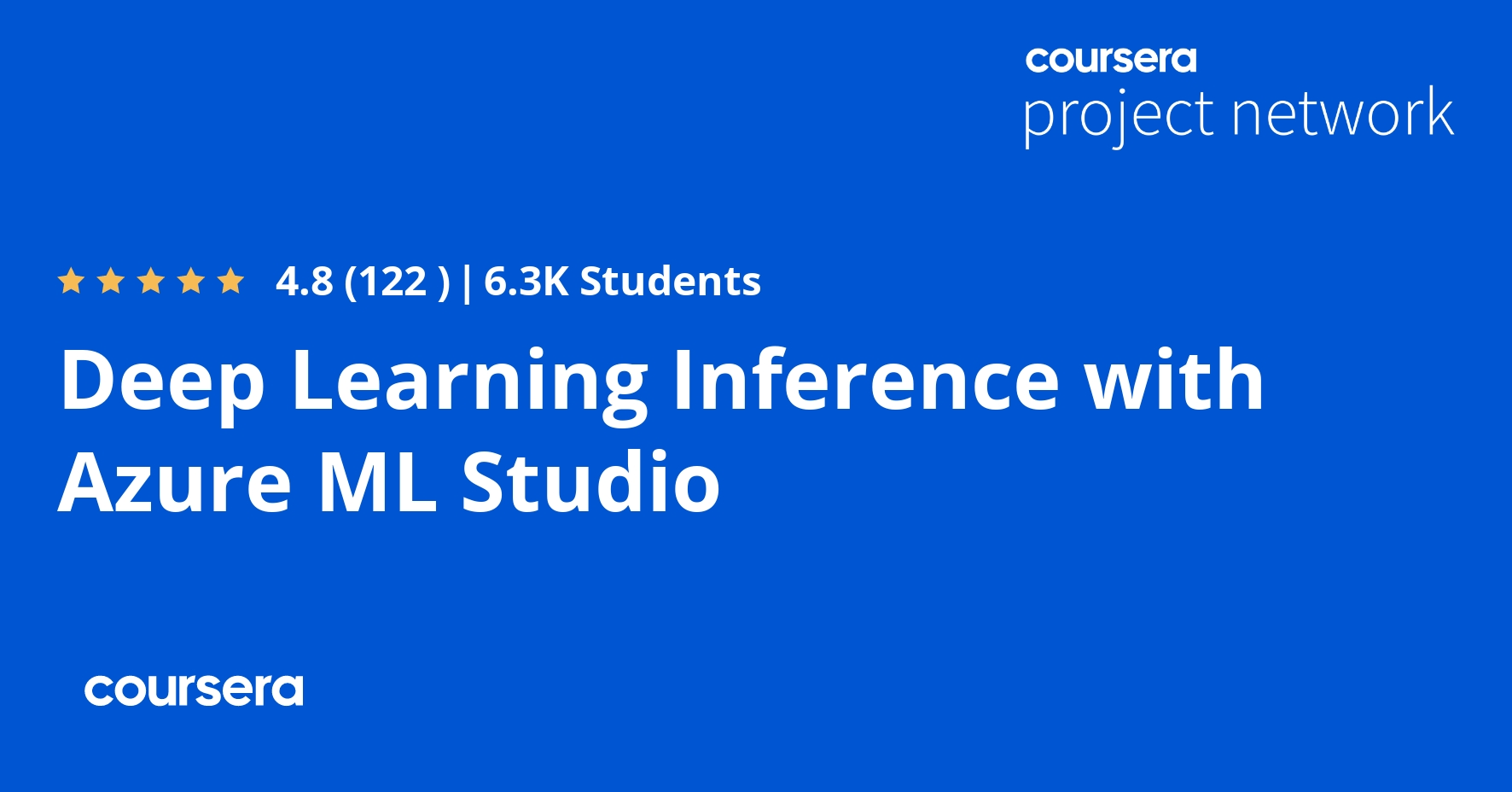 Deep Learning Inference with Azure ML Studio (Coursera)
