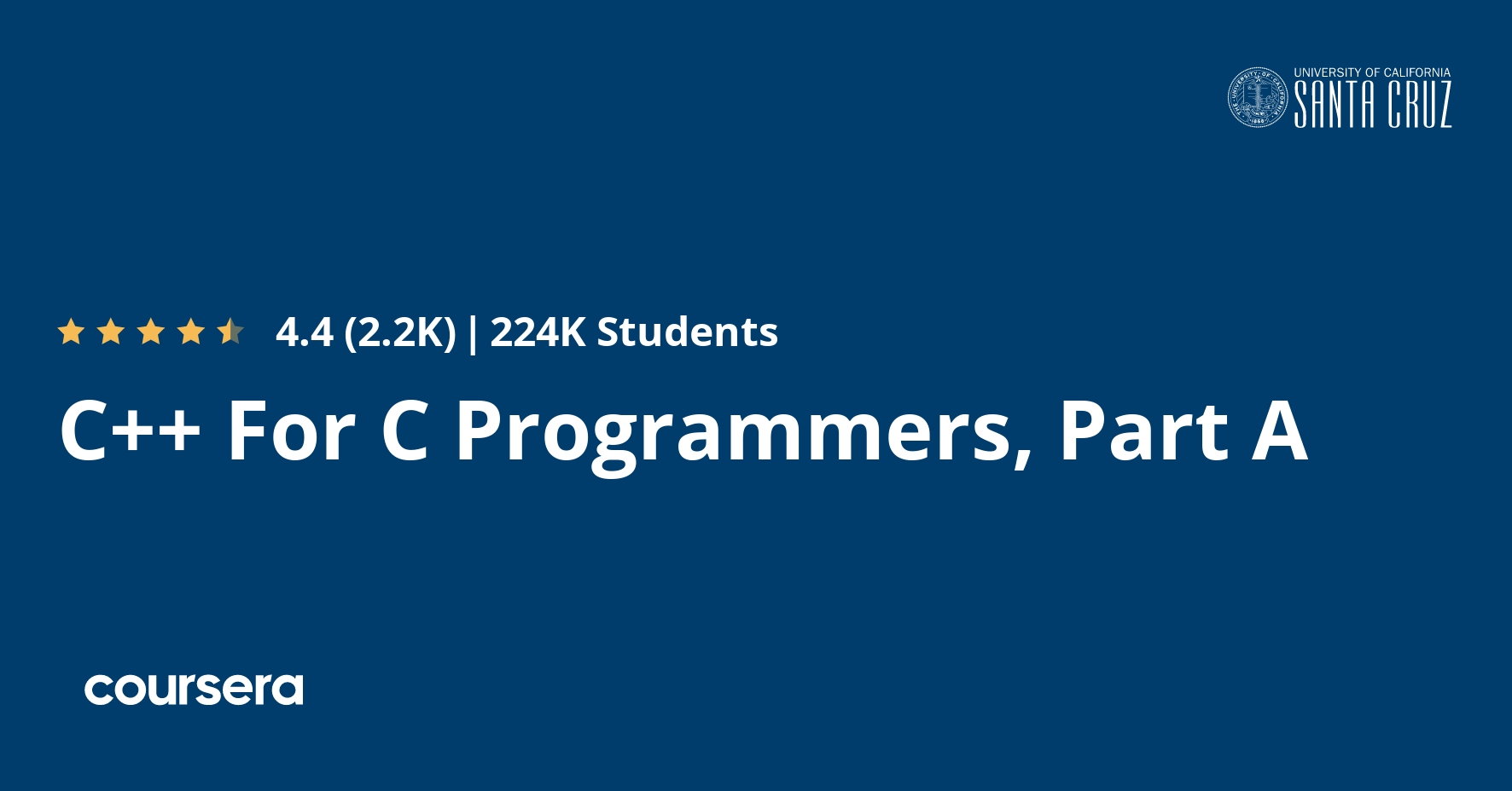 C++ For C Programmers, Part A  Coursera