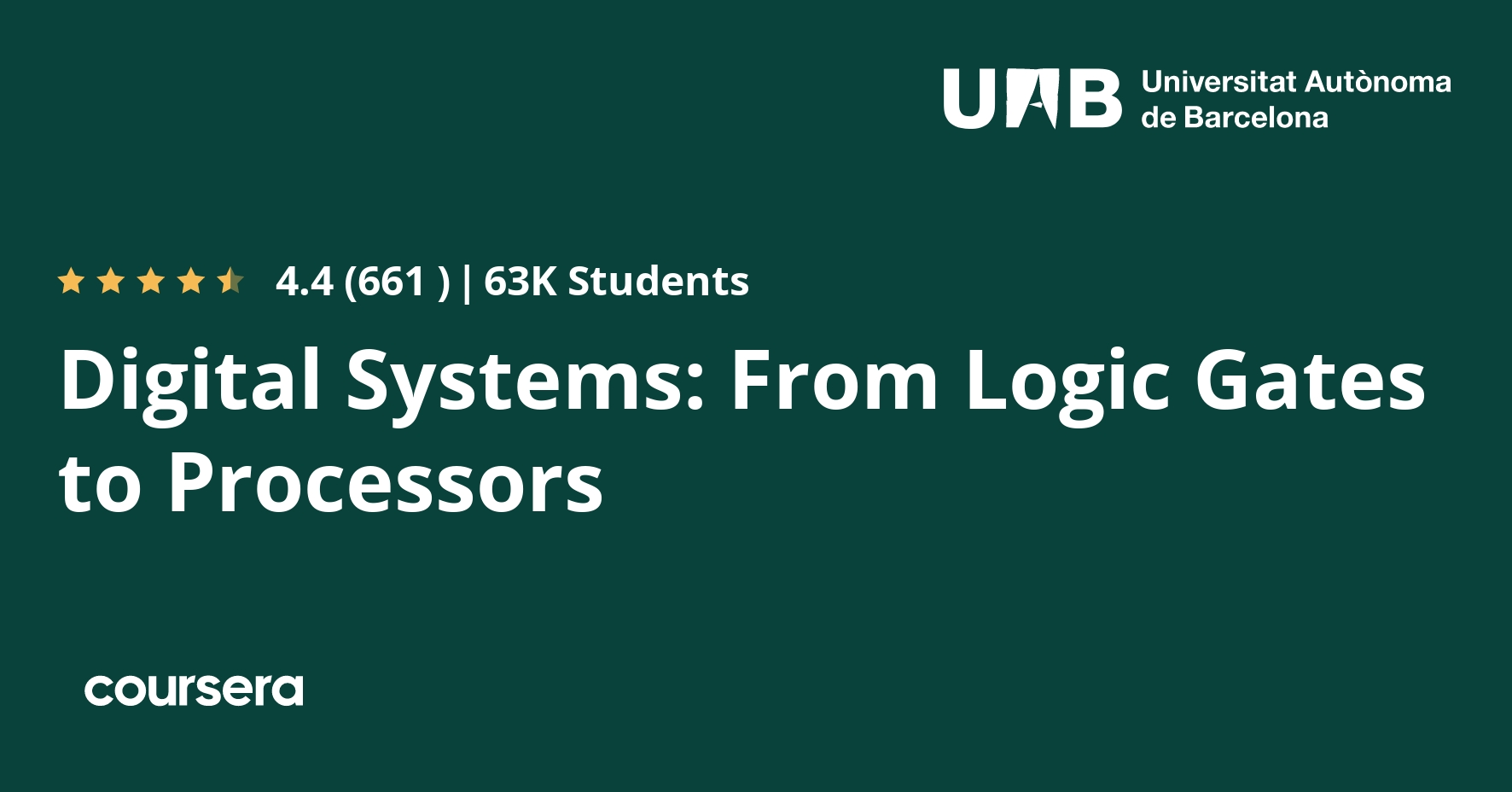 Digital Systems From Logic Gates To Processors Coursera