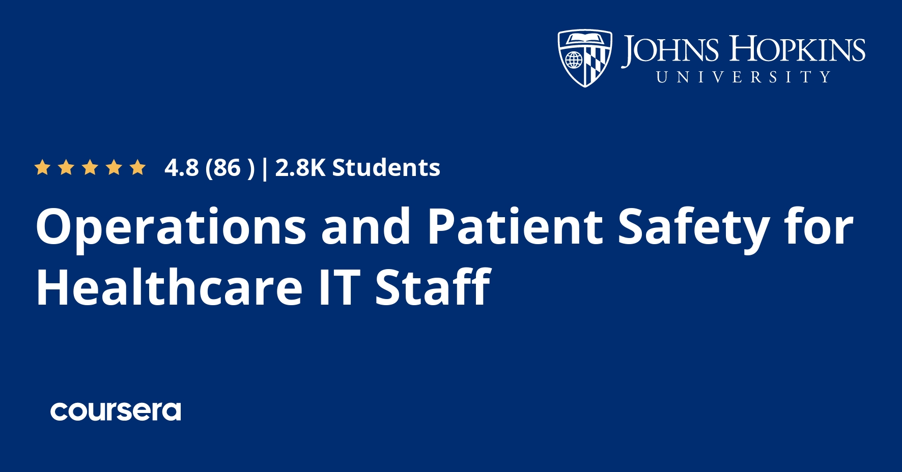 Operations and Patient Safety for Healthcare IT Staff Coursera